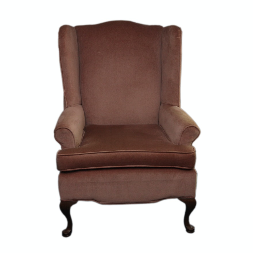 Vintage Queen Anne Style Upholstered Wingback Chair ... - Vintage Queen Anne Style Upholstered Wingback Chair : EBTH