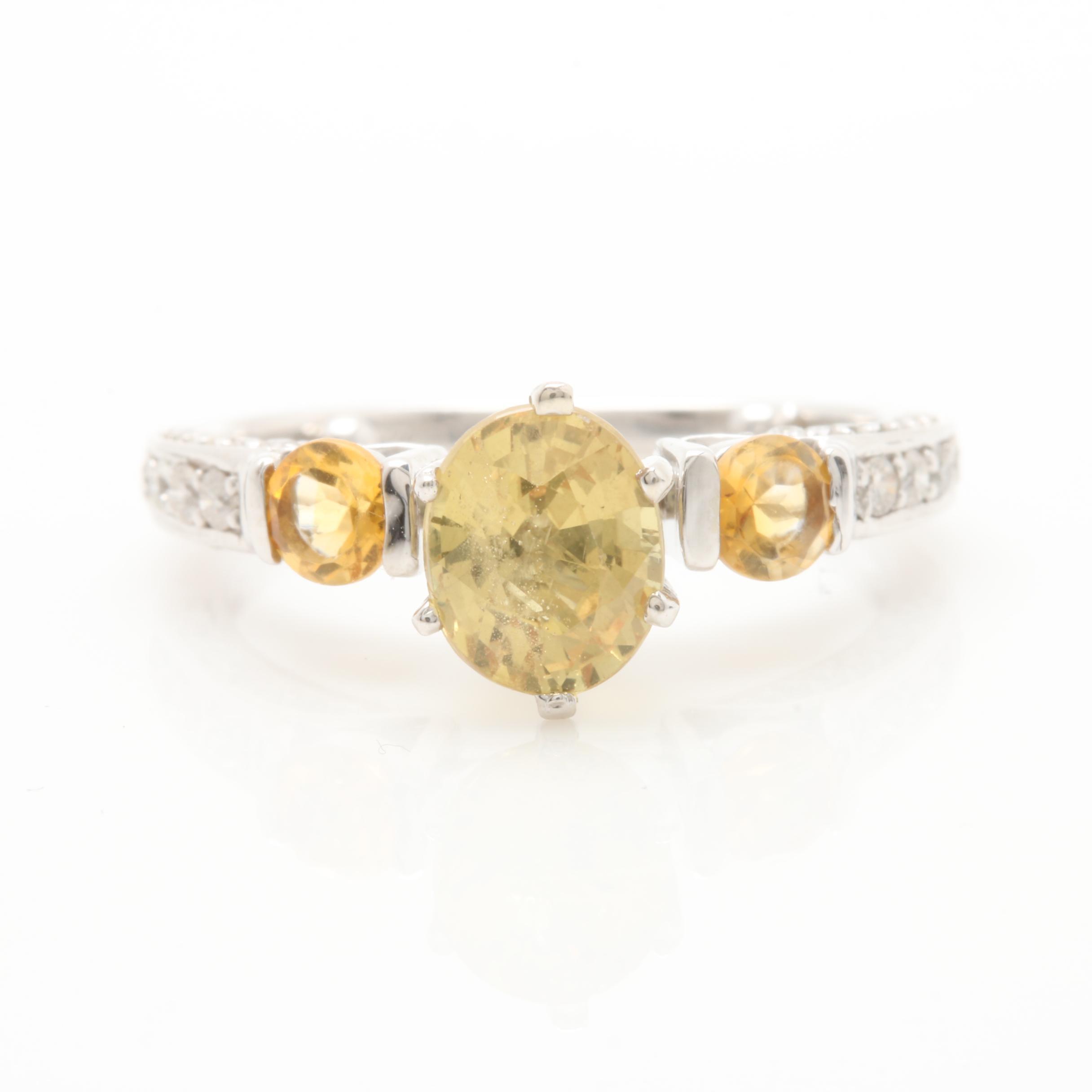 14K White Gold Untreated Yellow Sapphire, Citrine, and Diamond Ring
