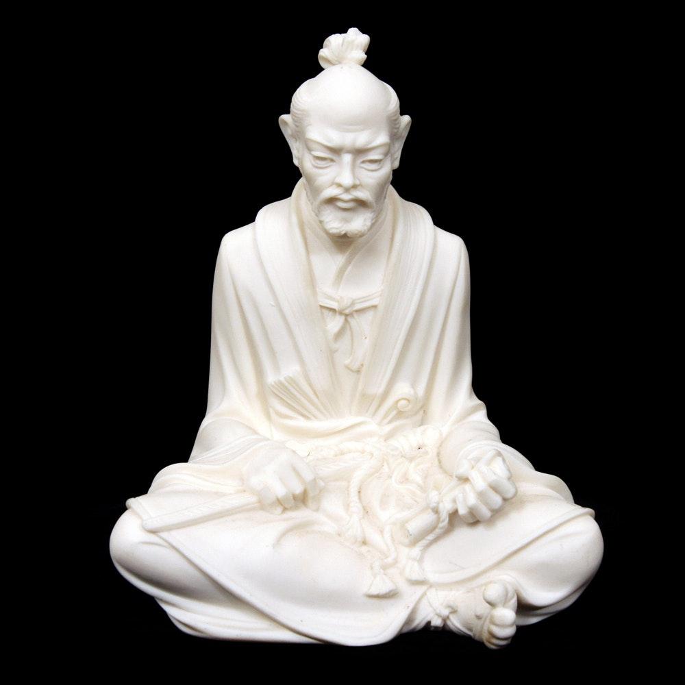 Italian Signed Japanese Inspired Figurine of Seated Man