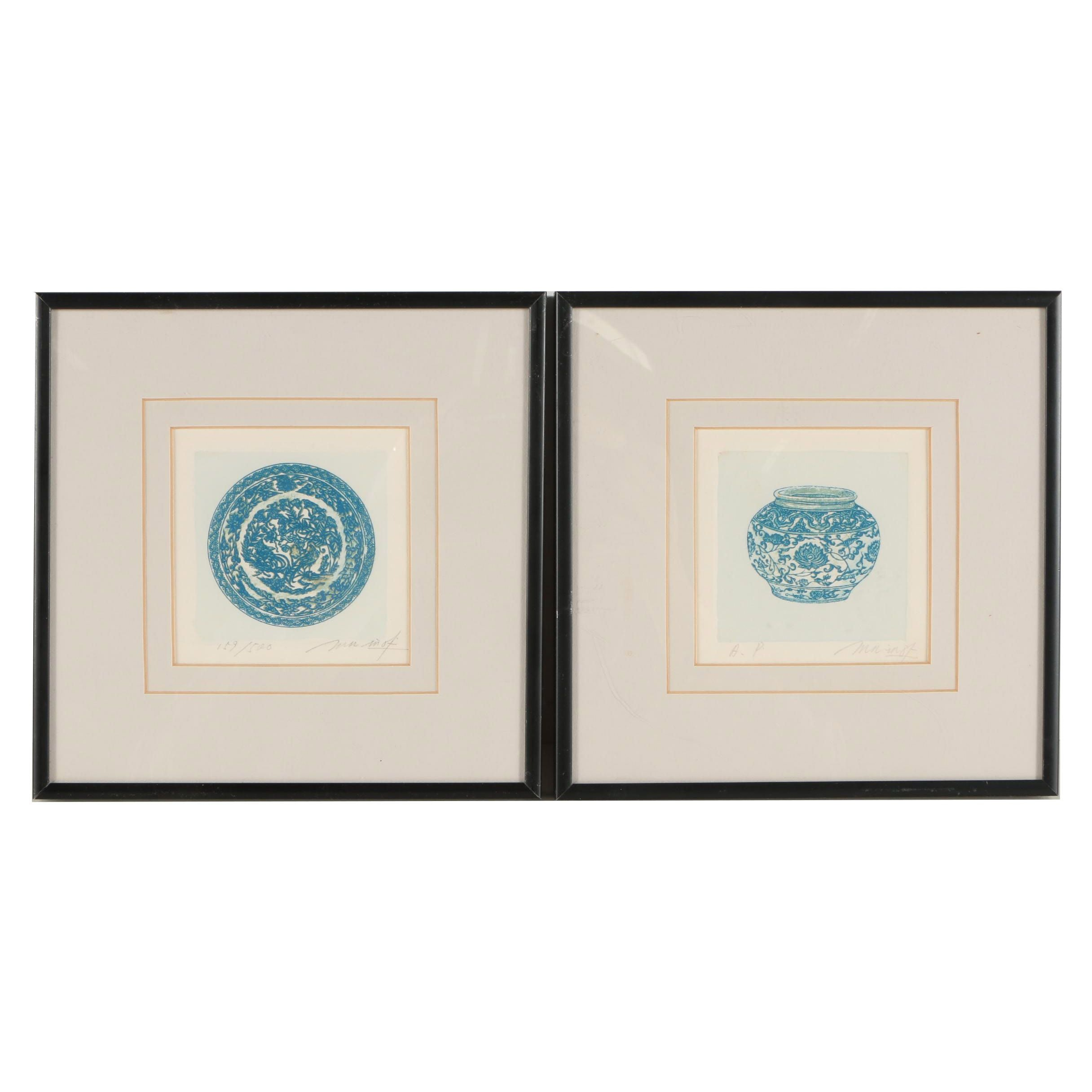 Color Etchings of Chinese Ceramic Pieces