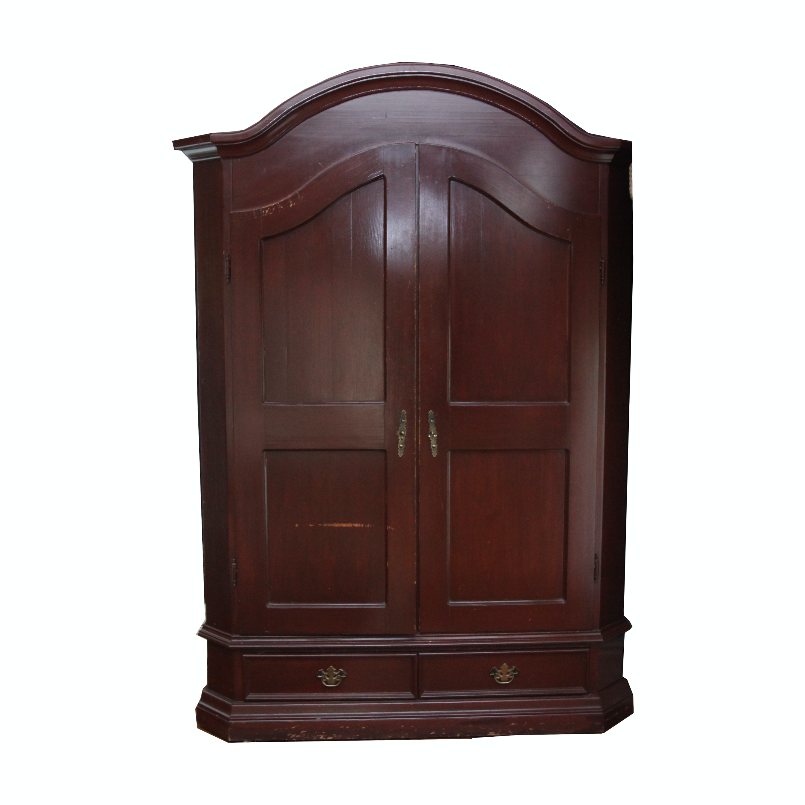 Vintage Chippendale Style Cherry-Finished Armoire