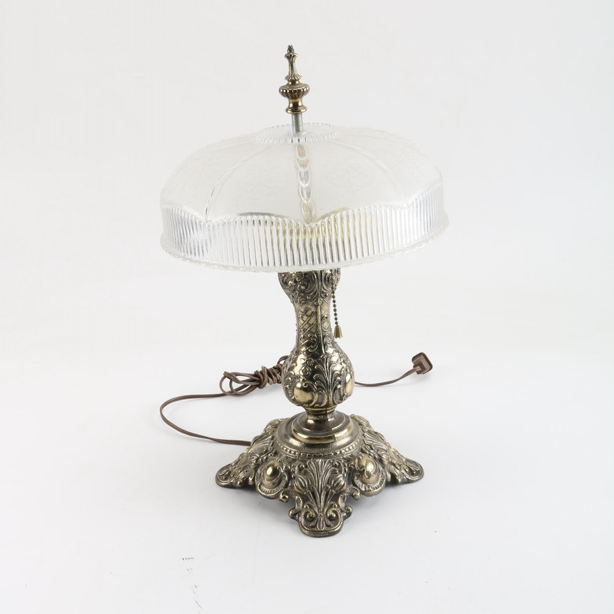 Ornate table lamp with glass shade ebth ornate table lamp with glass shade aloadofball Choice Image