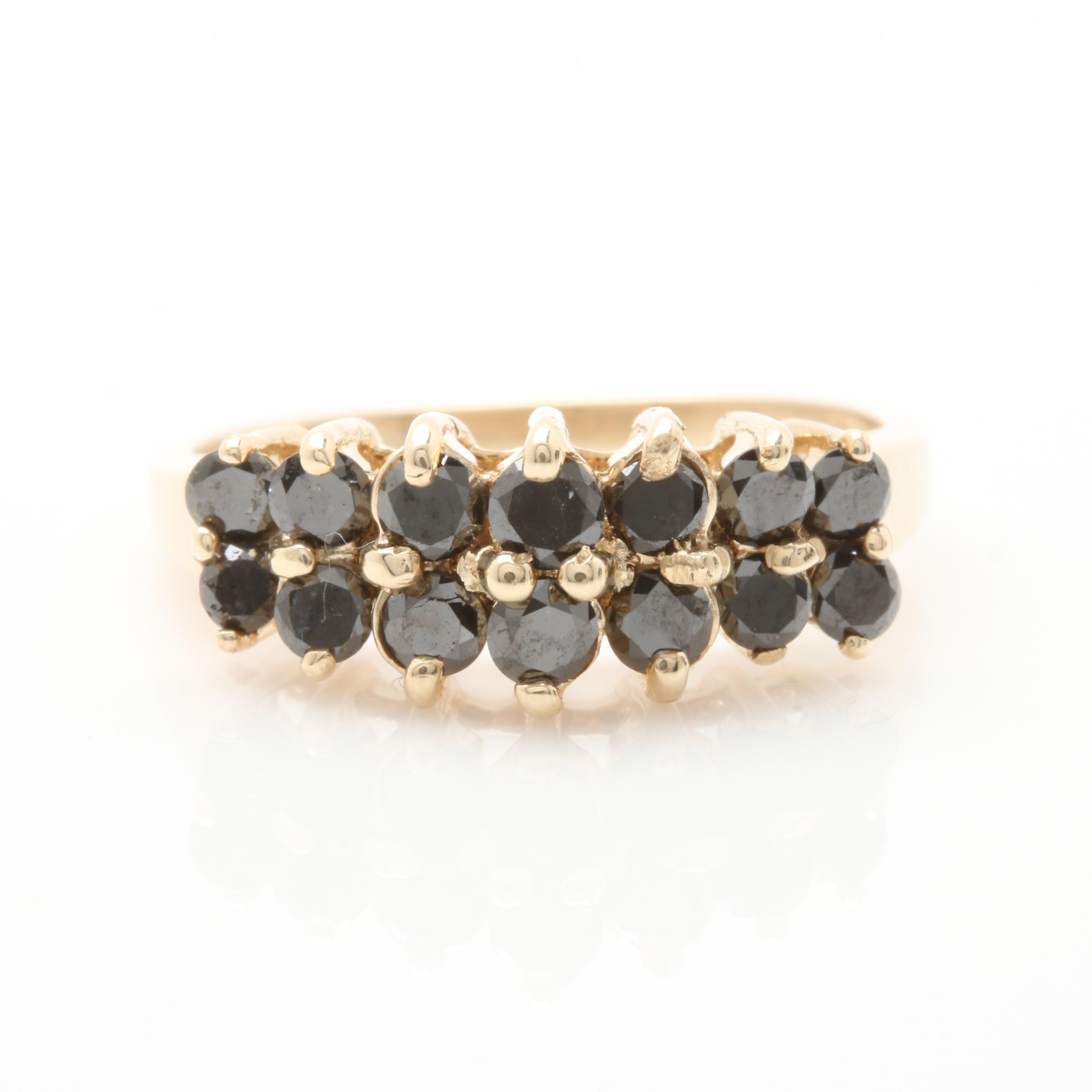 10K Yellow Gold Black Diamond Ring