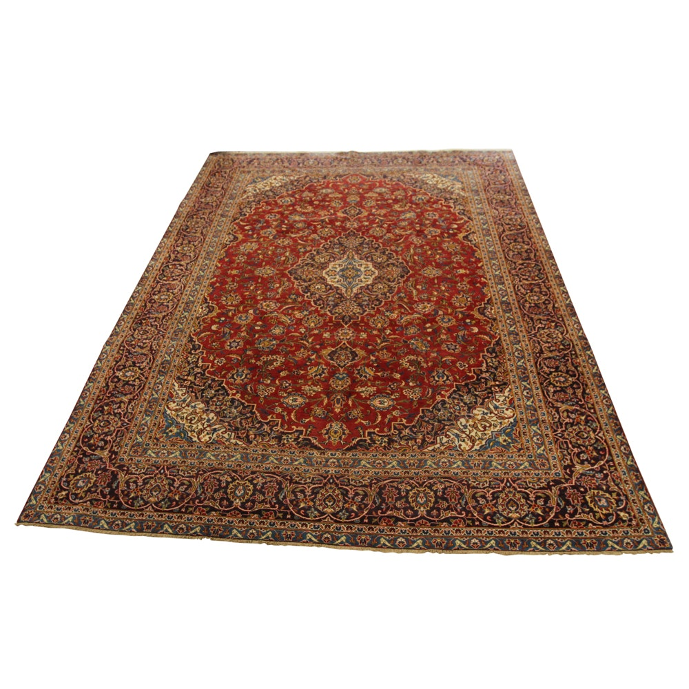 10' x 13' Hand-Knotted Vintage Persian Kashan Area Rug