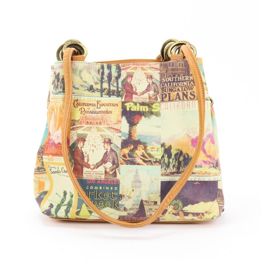 Cecconi Piero Italian Printed Leather Handbag