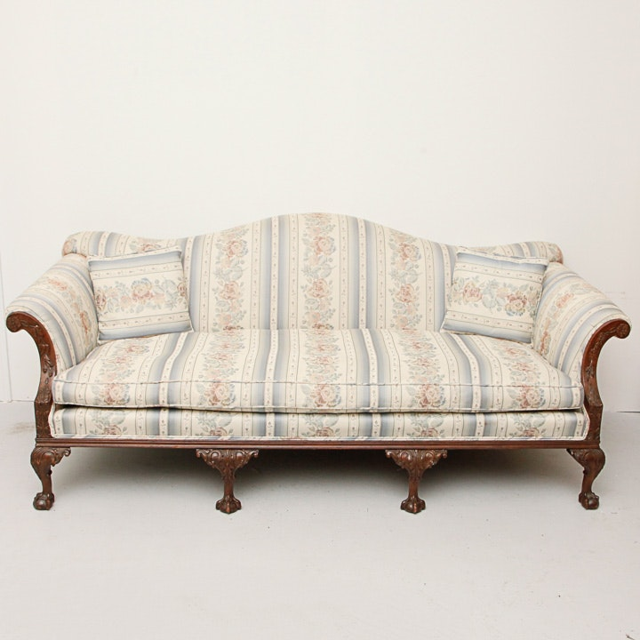 Vintage Chippendale Style Camelback Sofa