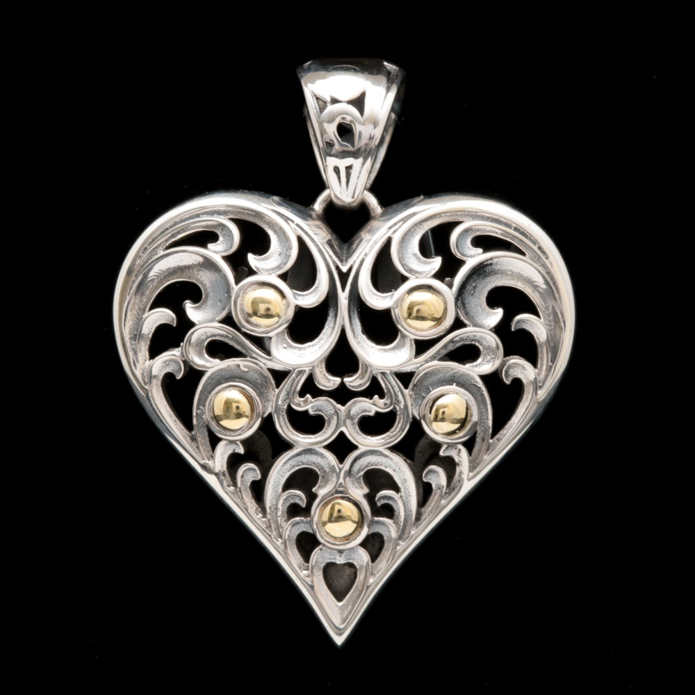 Robert Manse Sterling Silver and 18K Yellow Gold Heart Pendant
