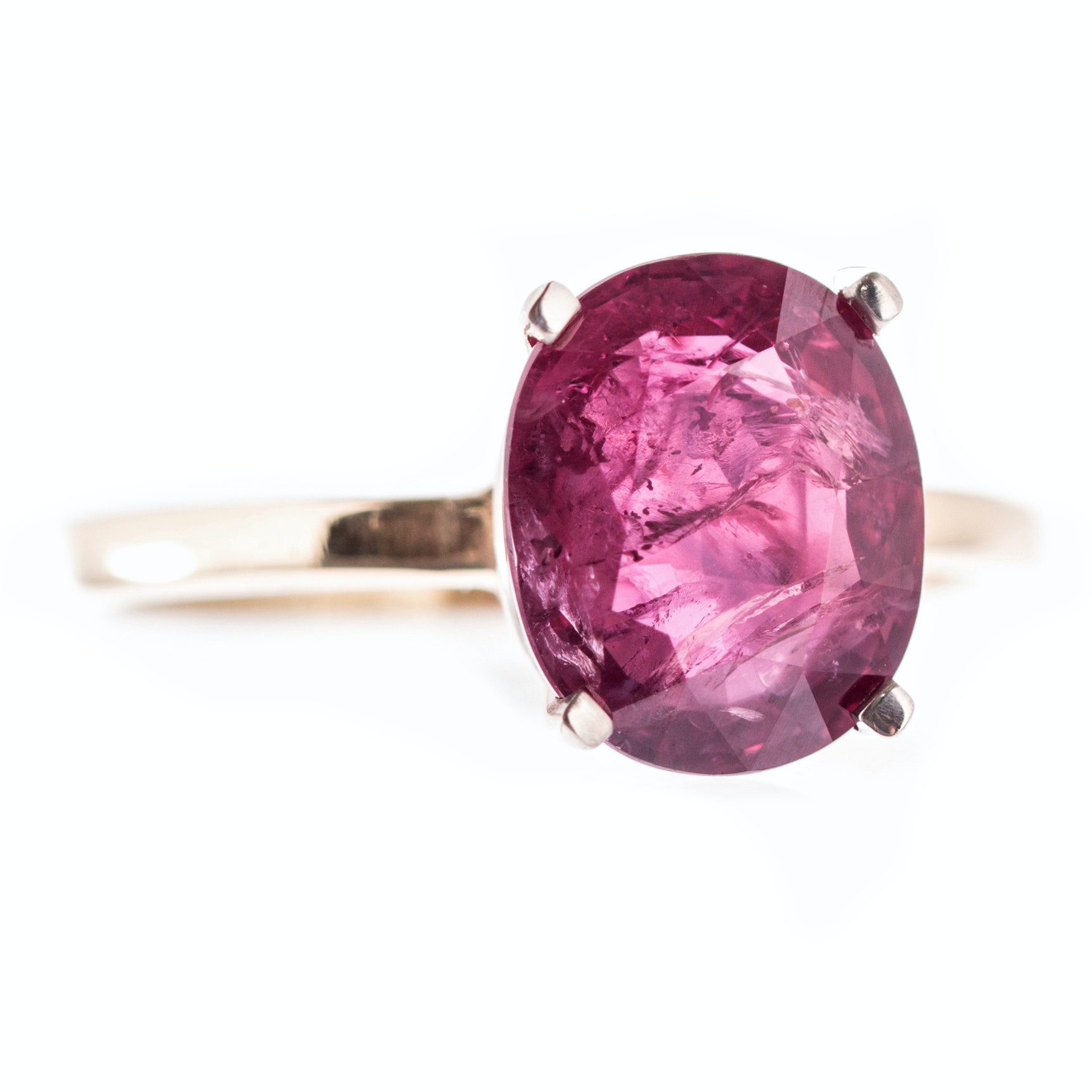 18K Yellow Gold 3.45 CT Ruby Ring with GIA Report