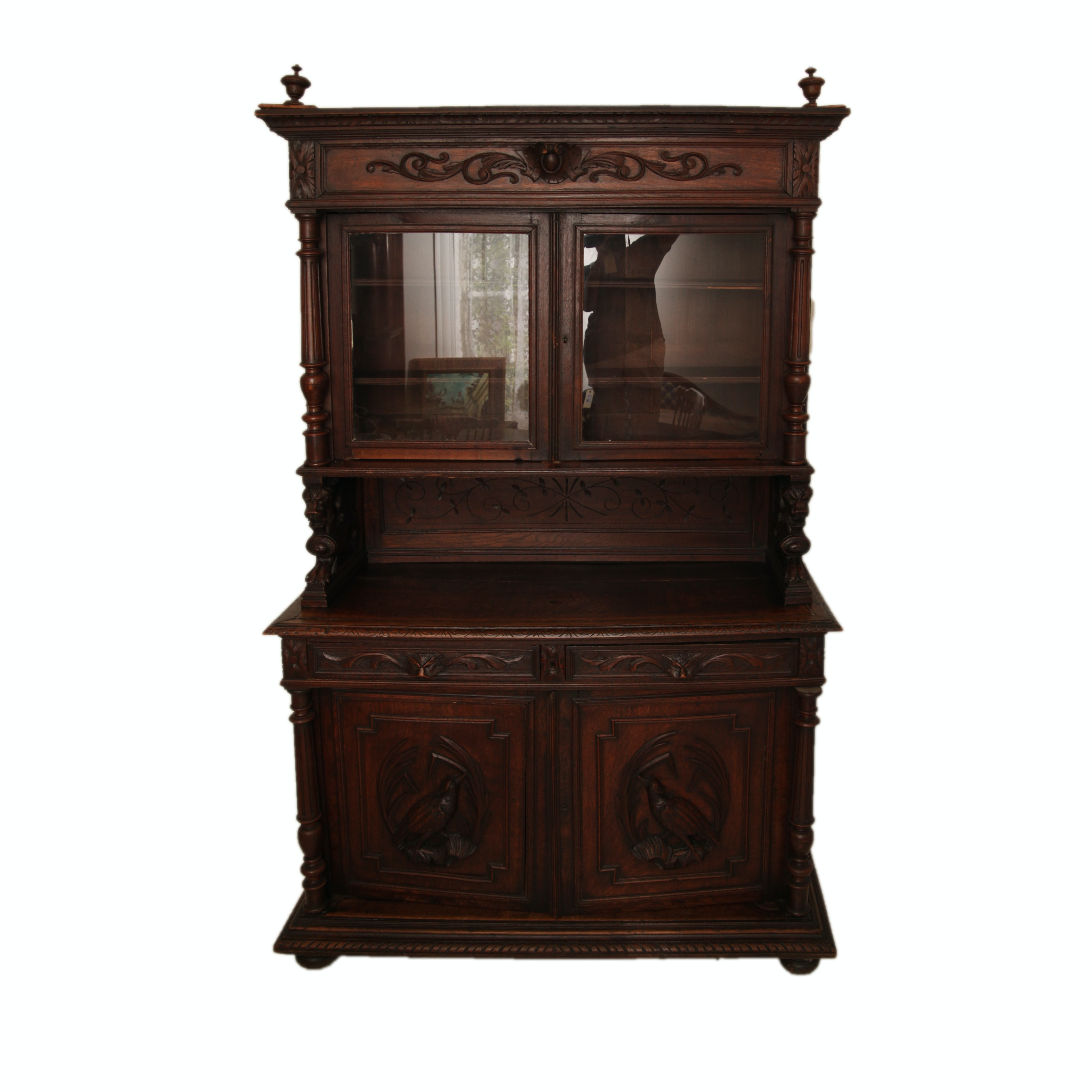 Antique Victorian Renaissance Revival Style Carved Walnut Cabinet