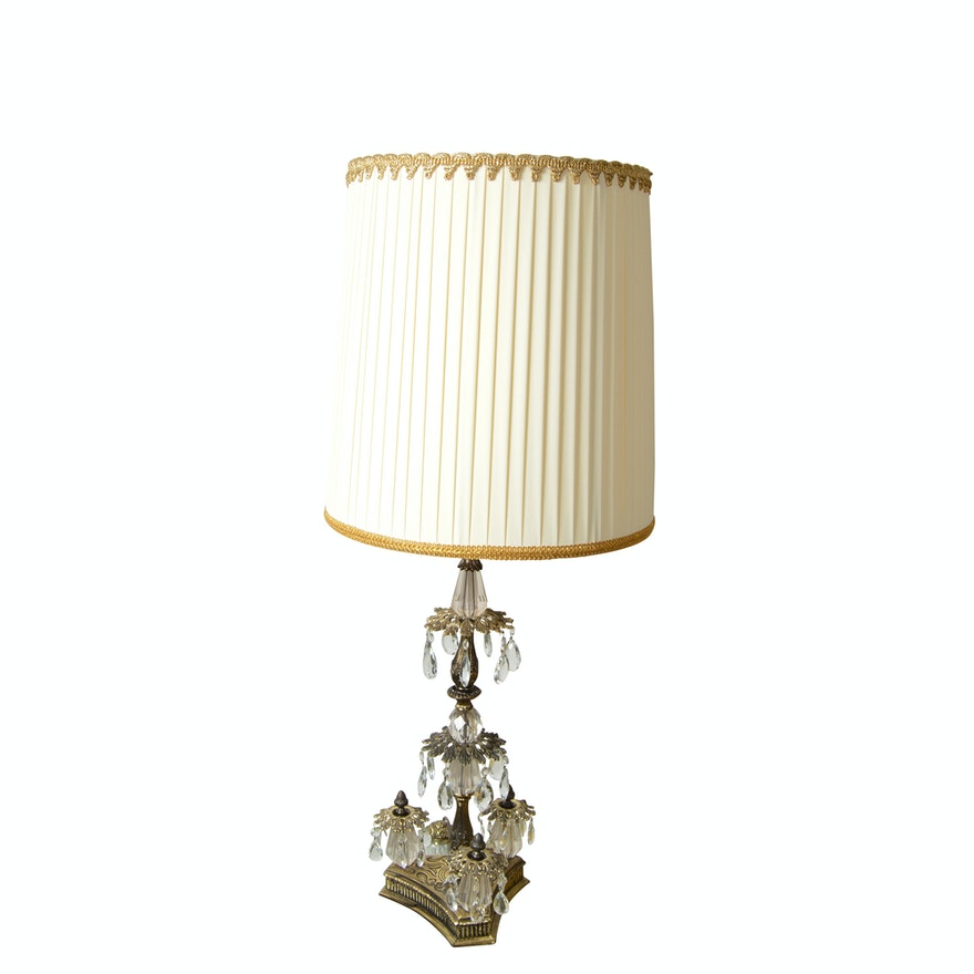 Large Ornate Brass Table Lamp With Glass Prisms Ebth