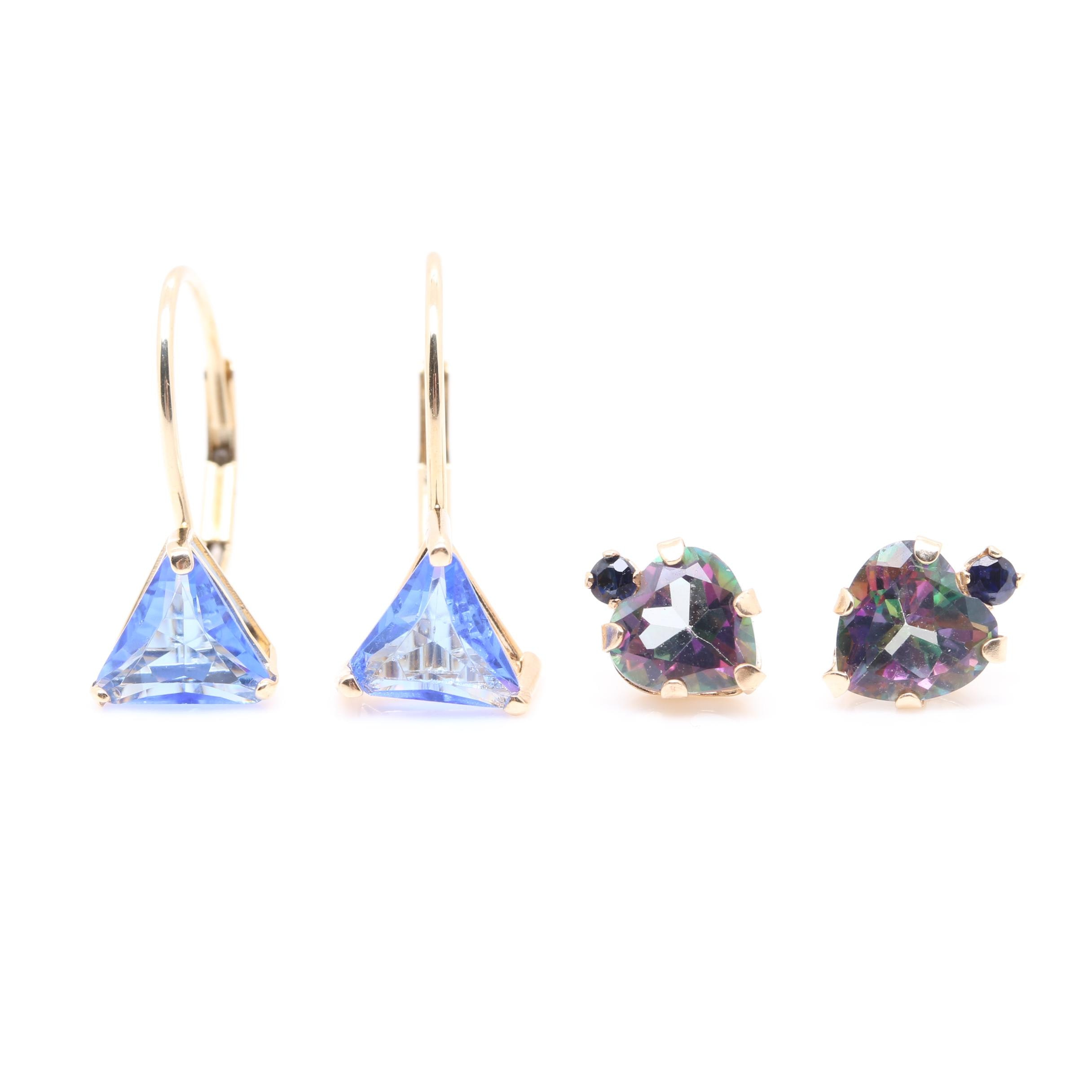 14K Yellow Gold Glass Earrings and 10K Yellow Gold Topaz and Sapphire Earrings