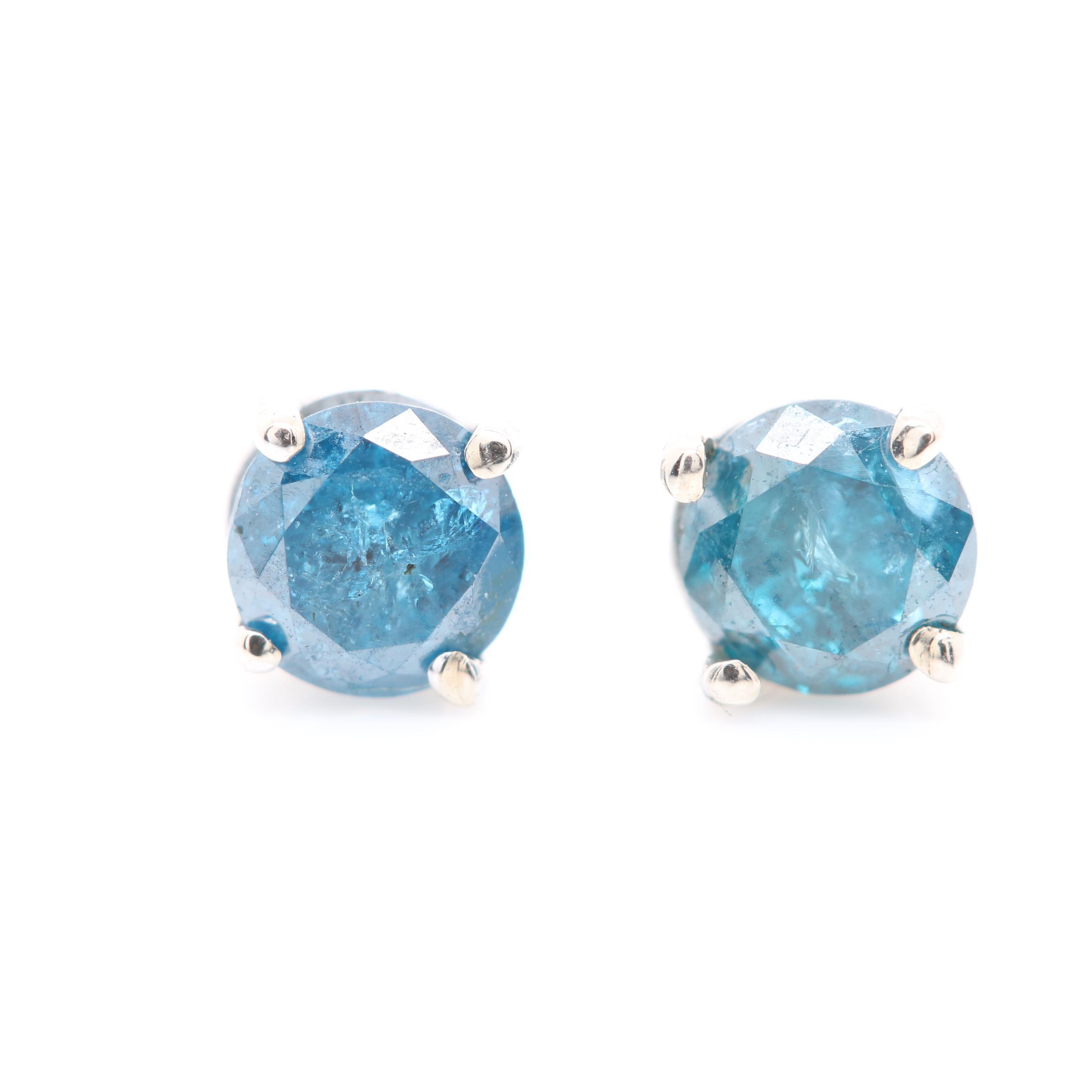 14K White Gold Blue Diamond Stud Earrings
