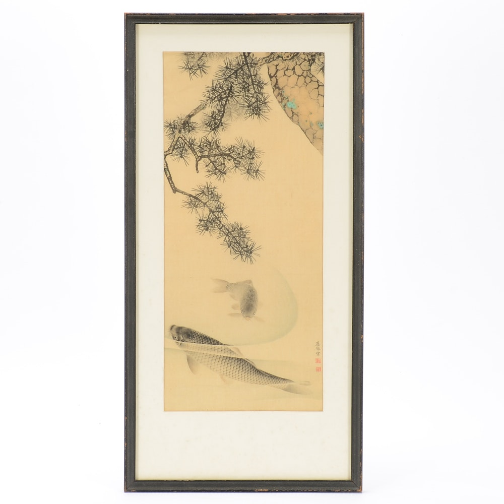 Maruyama Ōkyo Attributed Antique Ink and Watercolor Painting on Silk