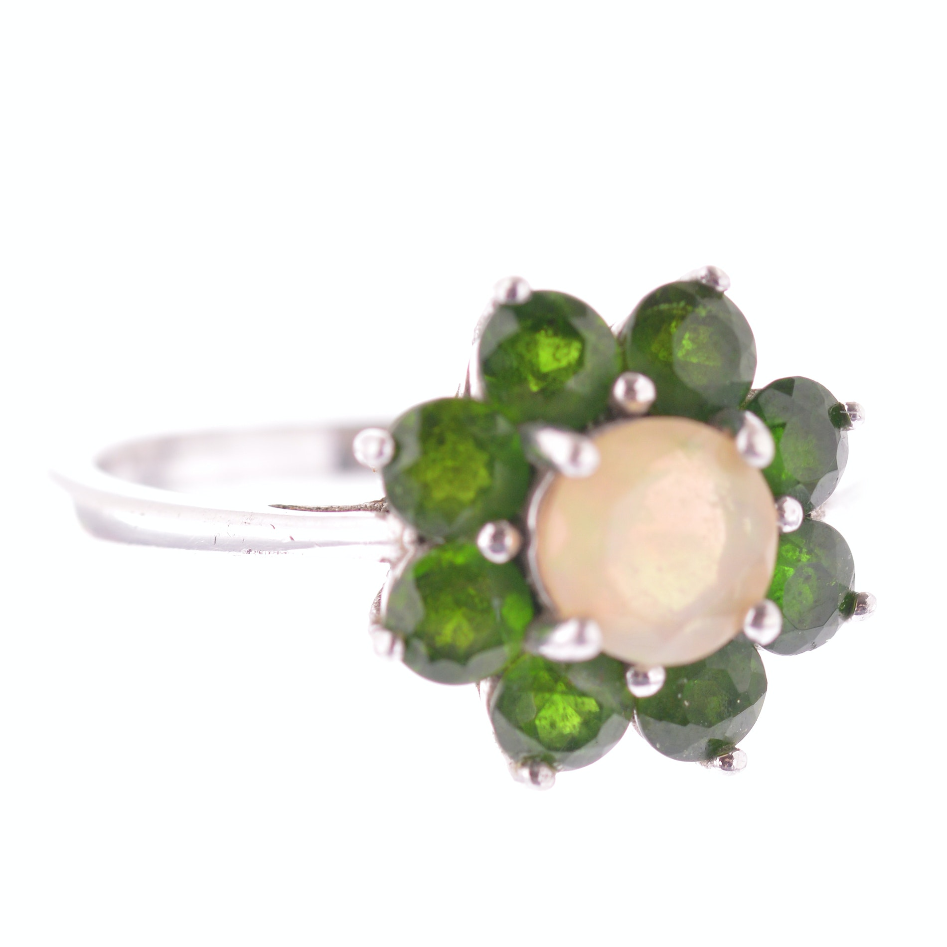 Sterling Silver Opal and 1.76 CTW Peridot Ring