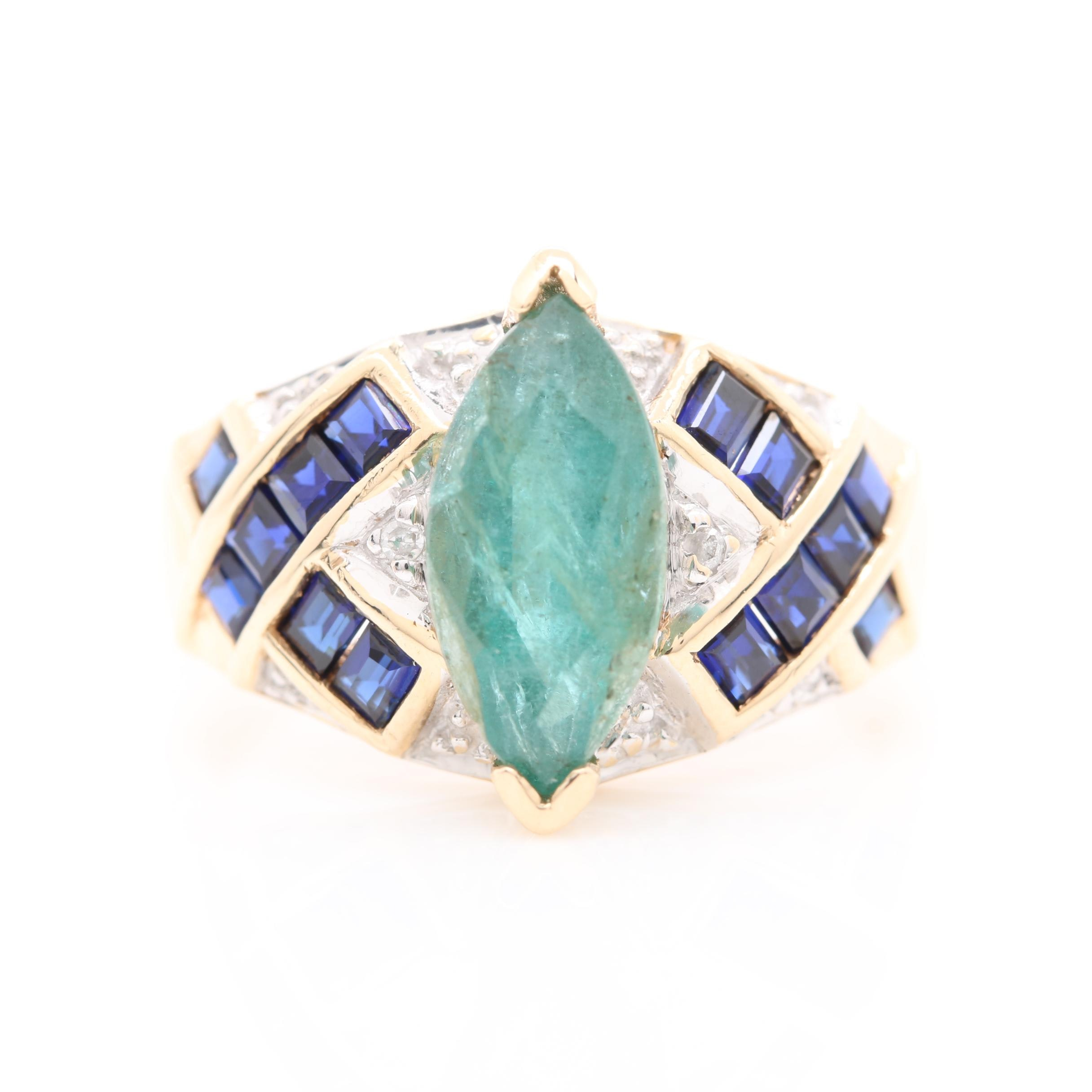 10K Yellow Gold Emerald, Diamond, and Synthetic Sapphire Ring