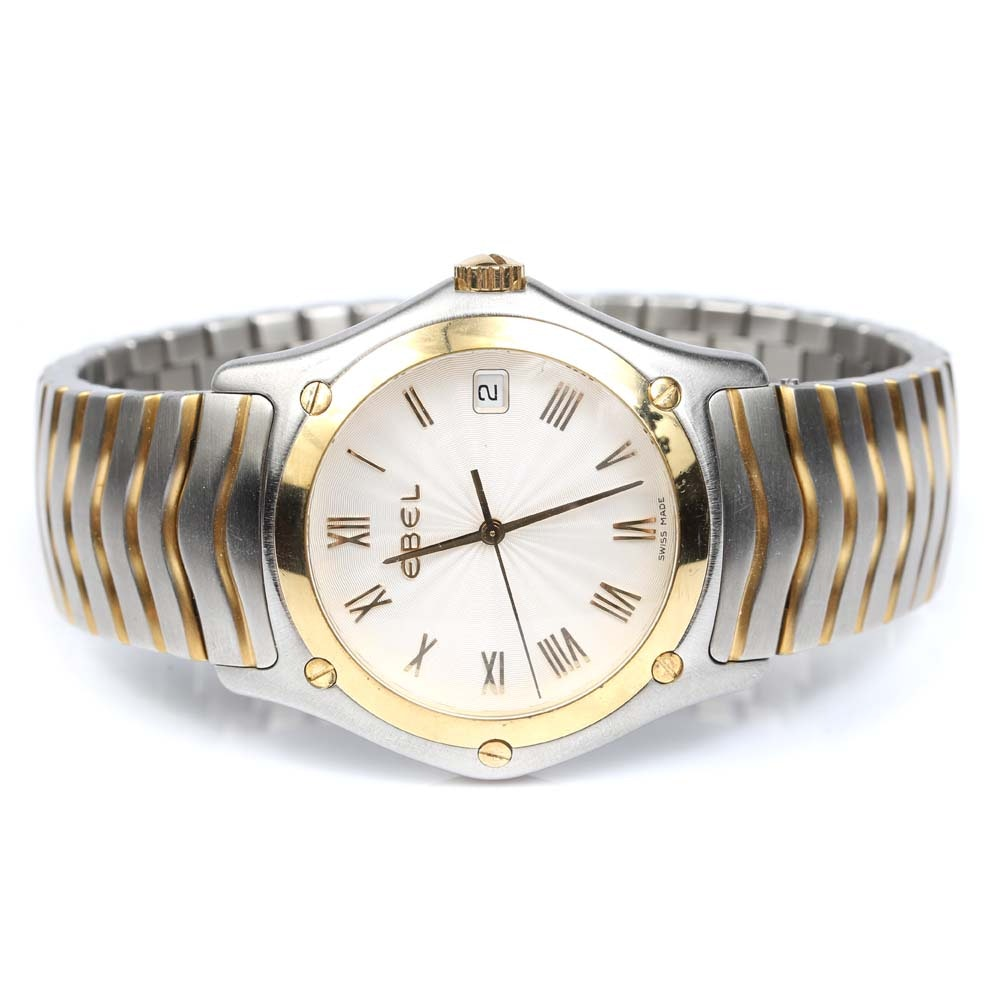 """Ebel Stainless Steel and 18K Yellow Gold """"Classic Wave"""" Wristwatch"""