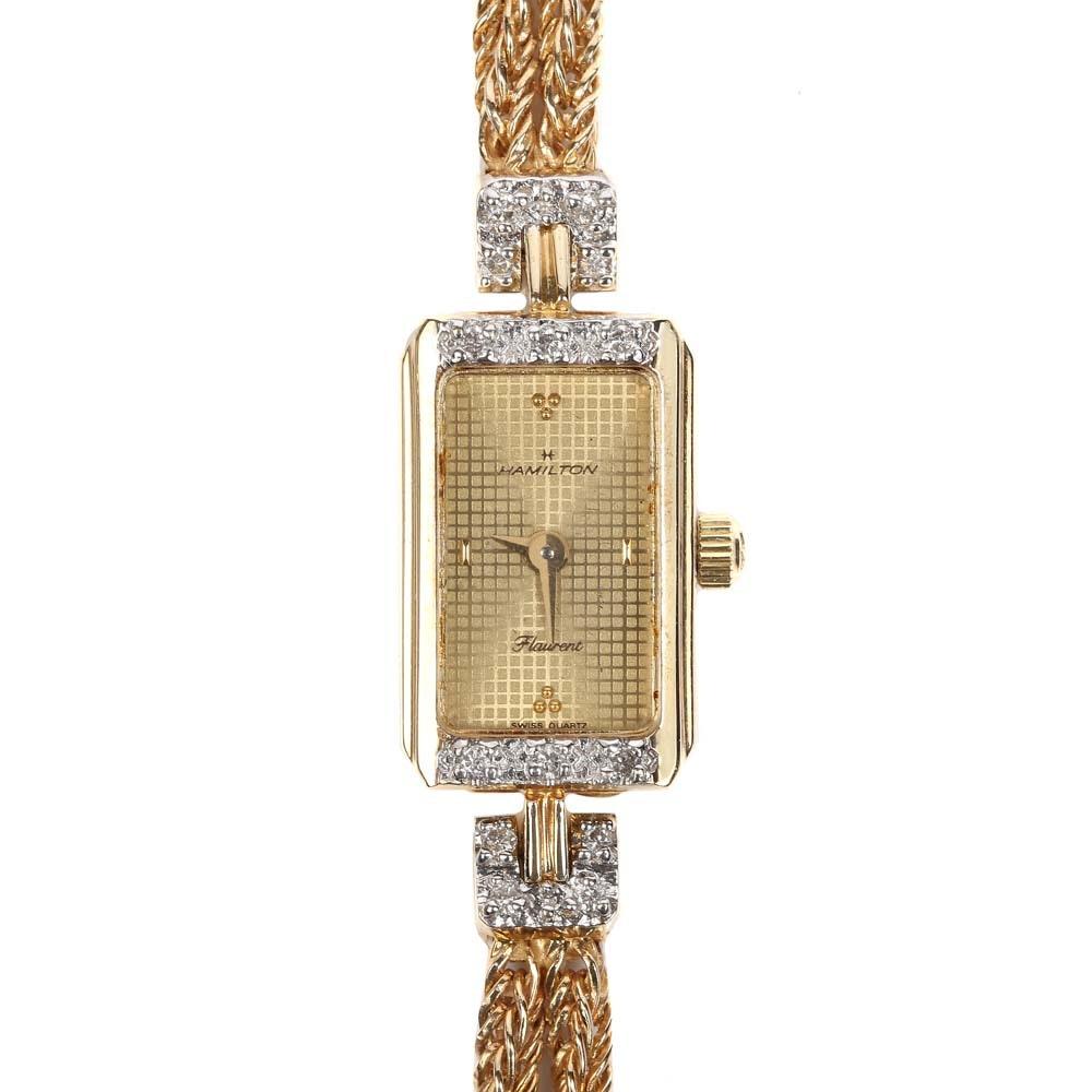 "14K Yellow Gold Hamilton ""Flaurent"" Diamond Wristwatch"