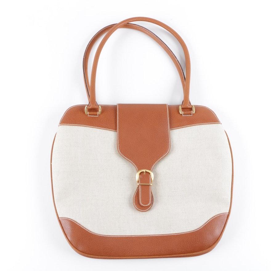 f7c12f31afd Vintage Gucci Canvas and Leather Handbag   EBTH