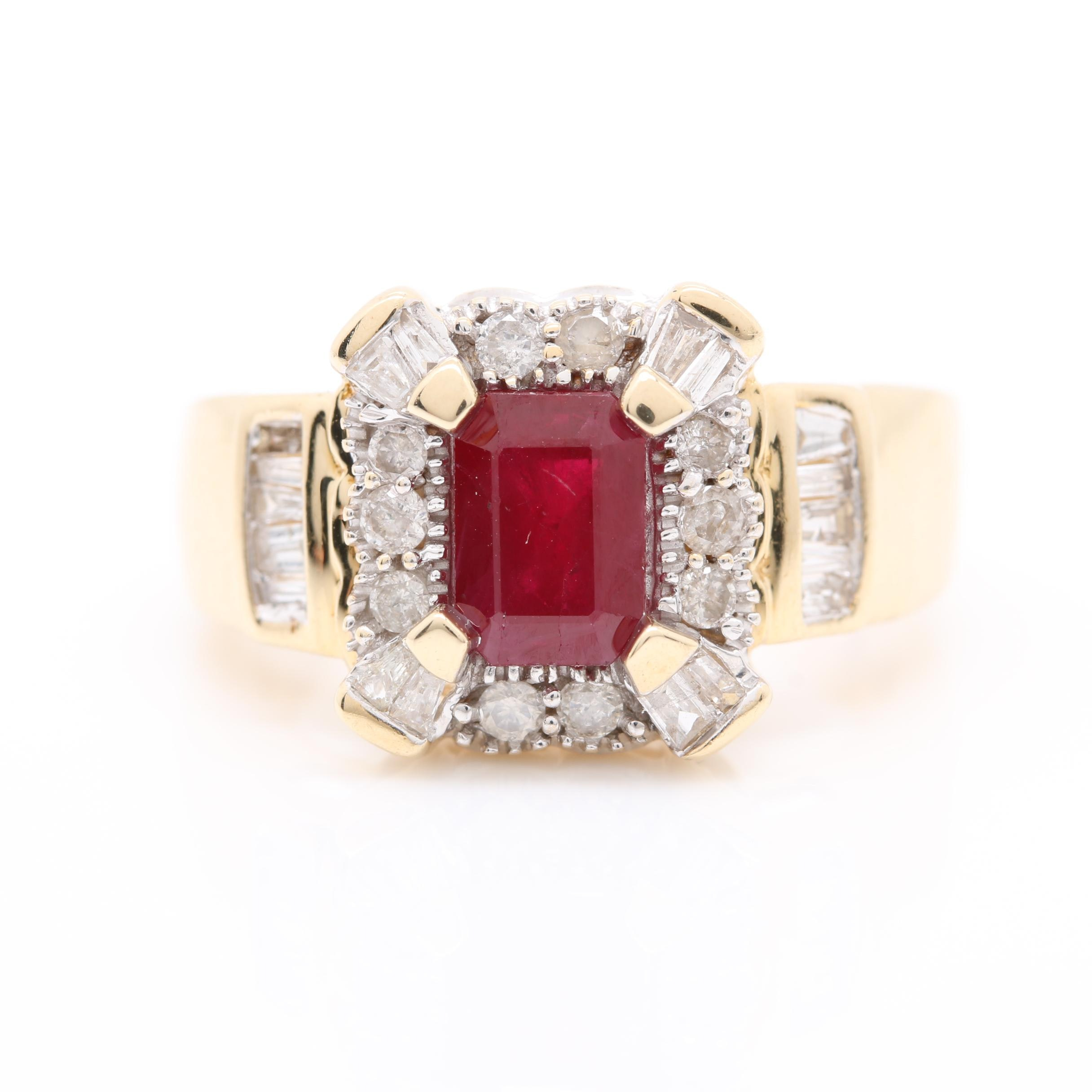14K Yellow Gold 1.13 CT Ruby and Diamond Ring