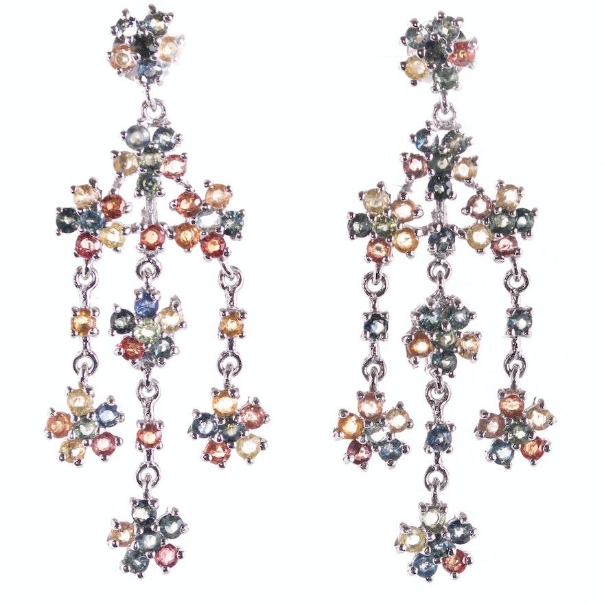 Sterling Silver 9 36 Ctw Multi Color Sapphire Chandelier Earrings