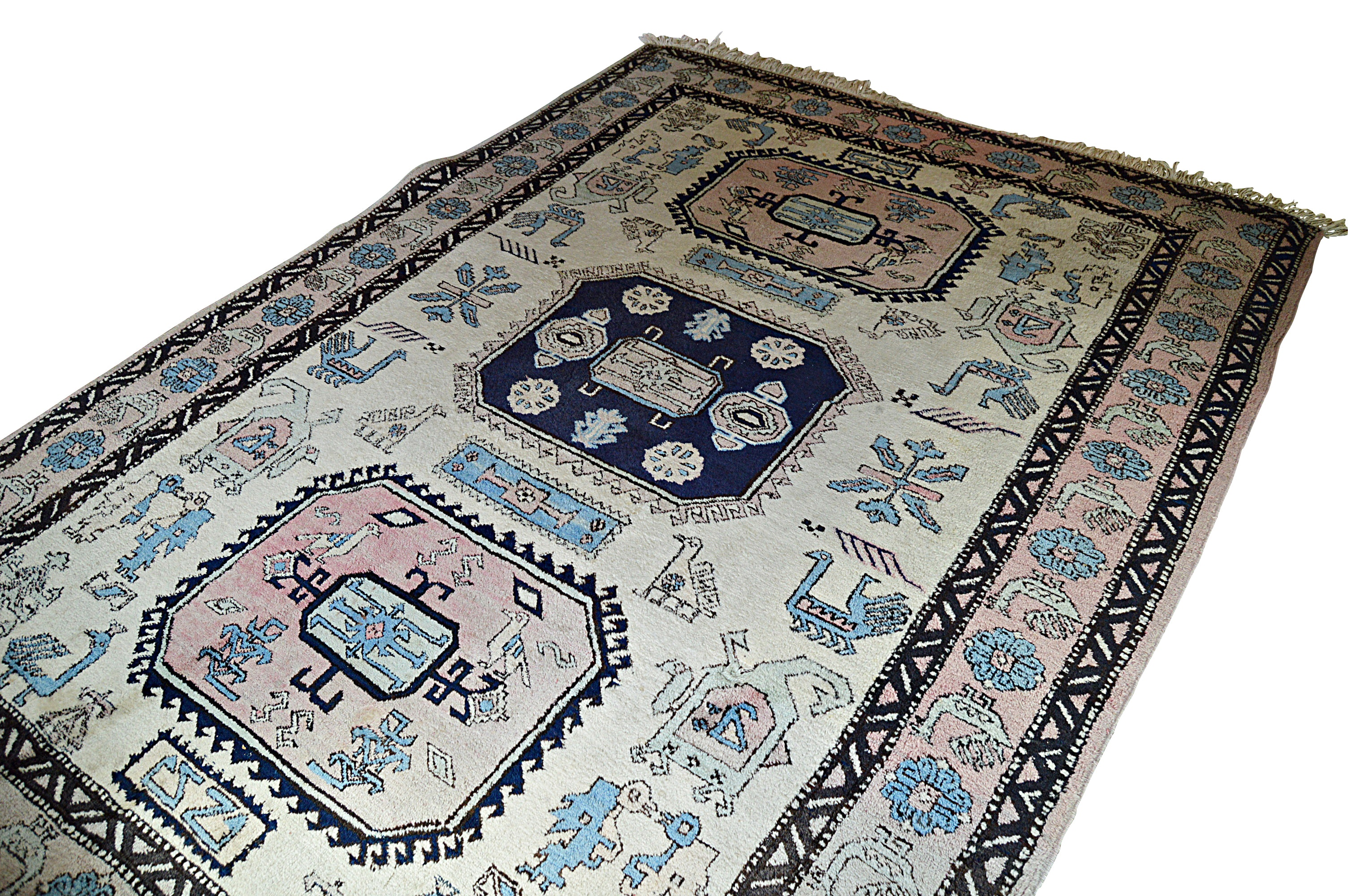 Hand-Knotted Persian Meshkin Wool Area Rug