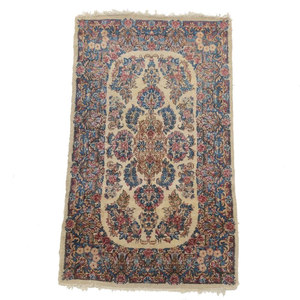 Hand-Knotted Persian Kerman Style Floral Wool Area Rug