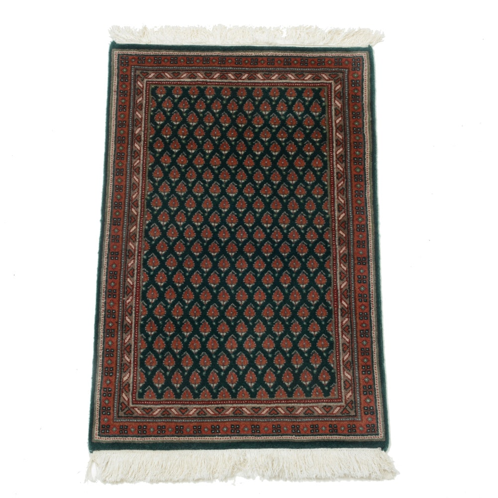 """Hand-Knotted Indo-Persian """"Mir-a-Boteh"""" Wool Accent Rug"""