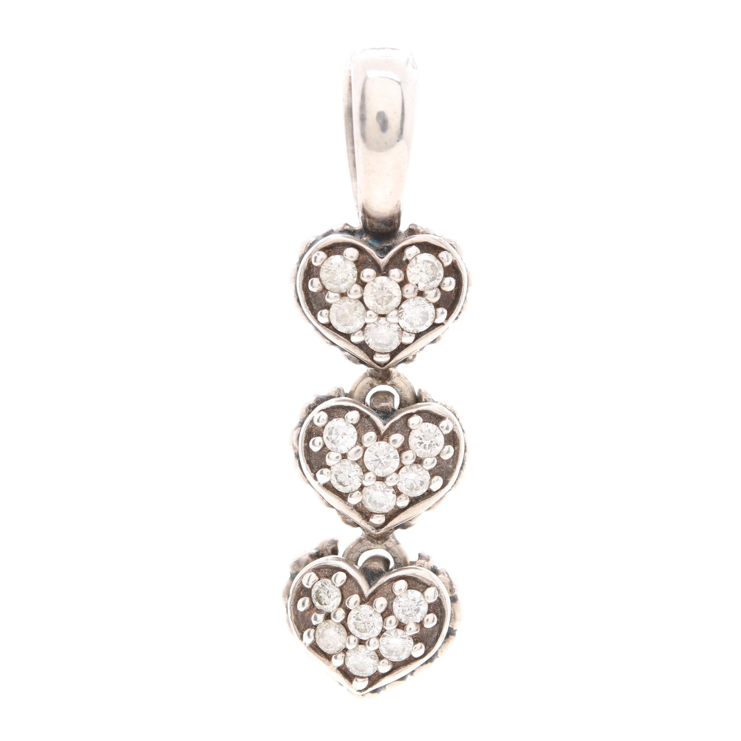 Caviar by Lagos Sterling Silver Diamond Triple Heart Pendant