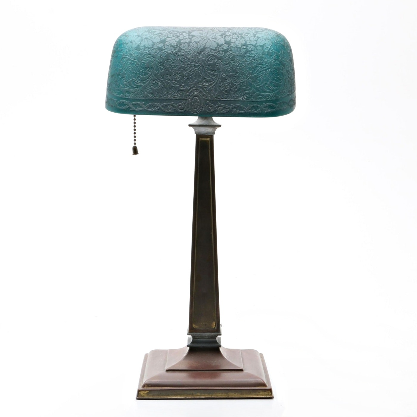 Vintage Emeralite Bankers Desk Lamp With Etched Green Glass Shade