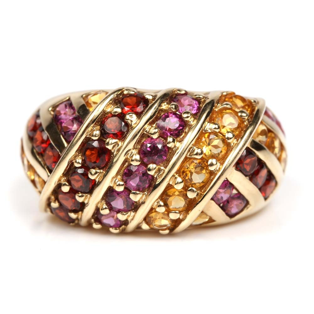 14K Yellow Gold Dome Ring with Amethyst, Citrine and Garnets