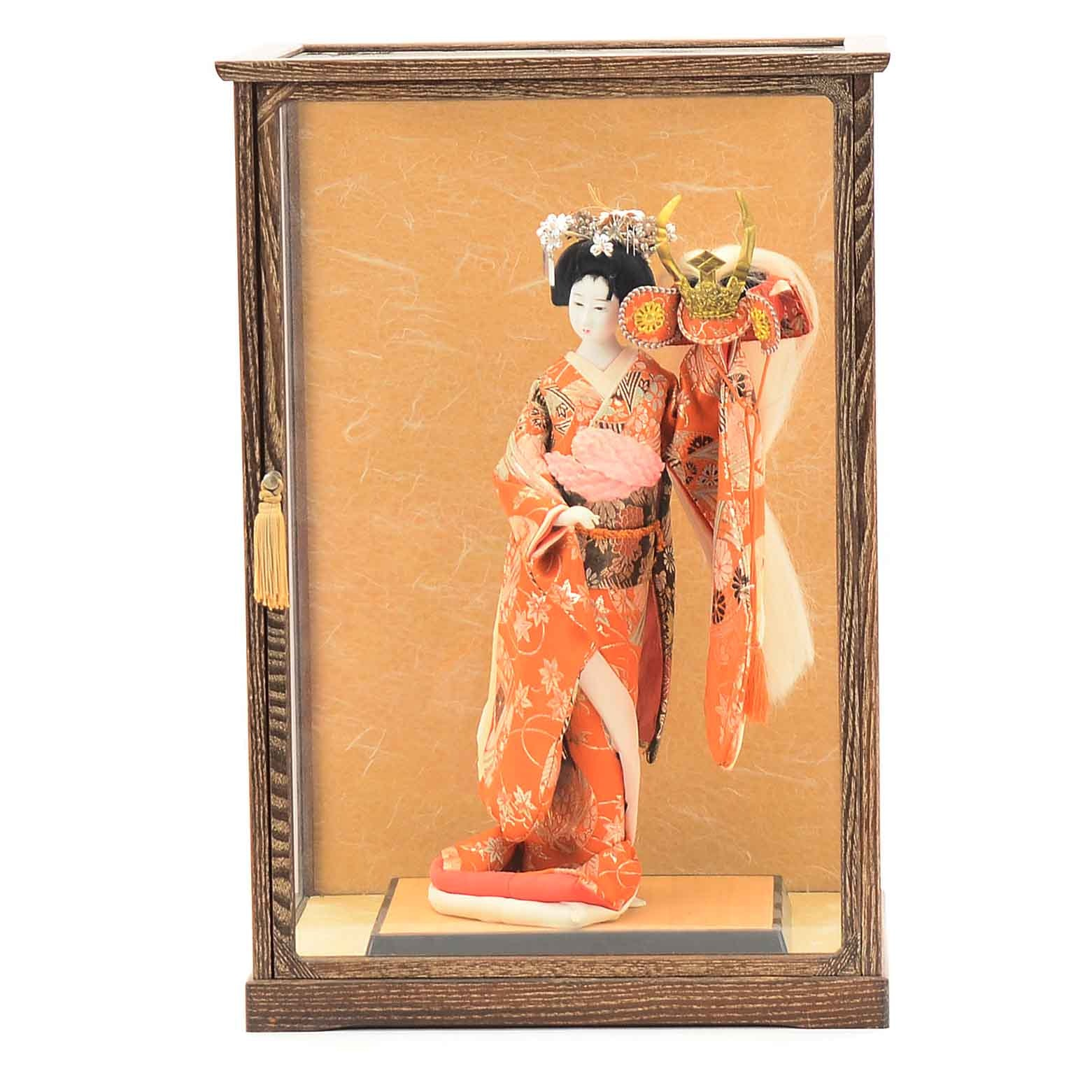 Japanese Female Figure with a Samurai Helmet and Glass Display Case