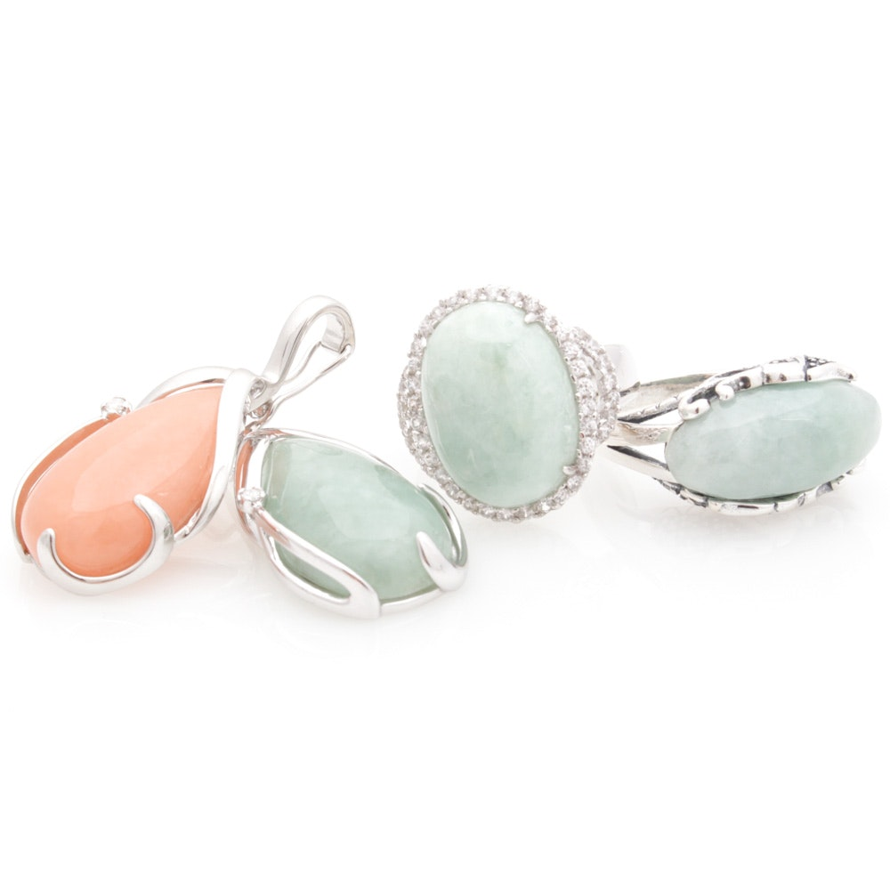 Sterling Silver Jadeite and Cubic Zirconia Jewelry