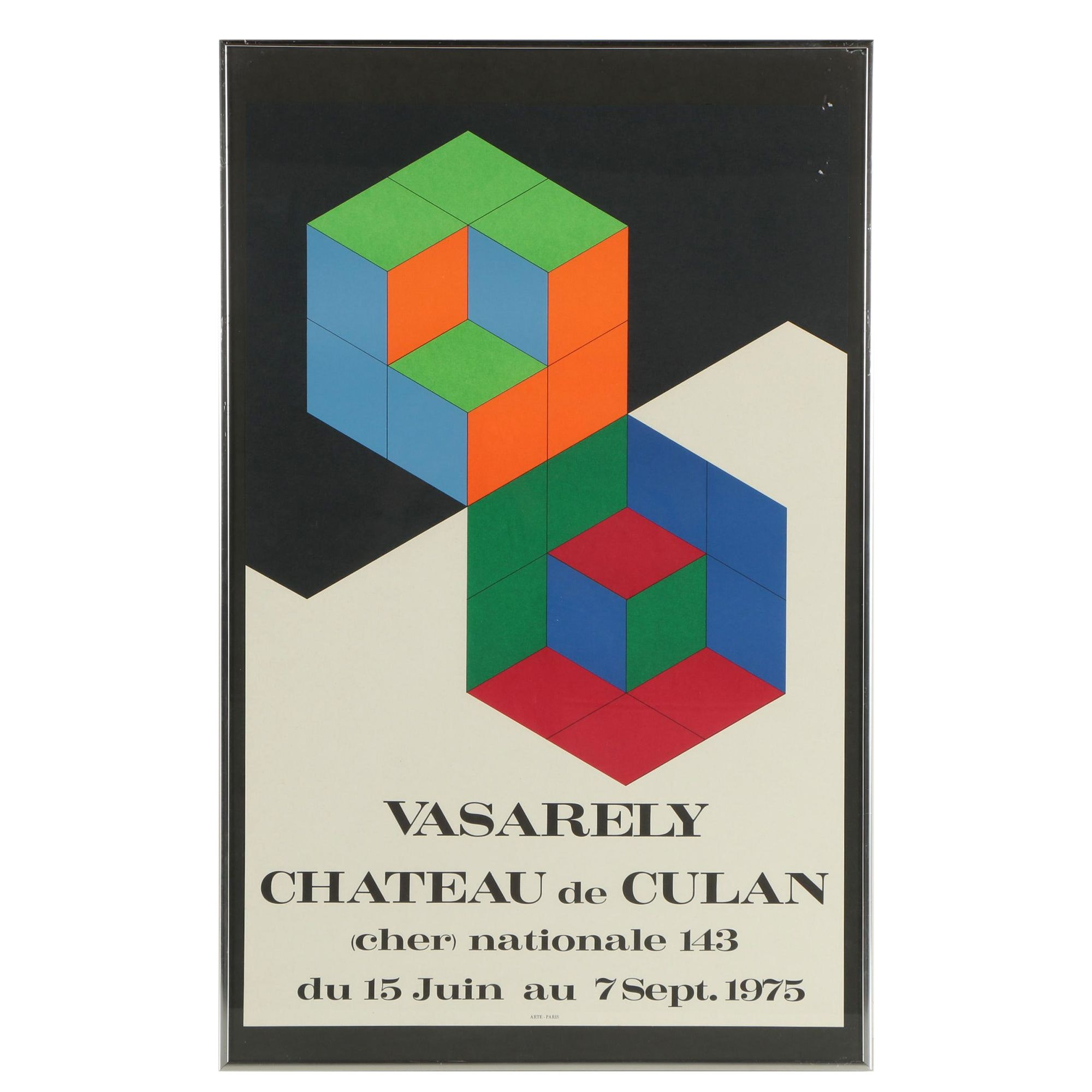 Lithograph Exhibition Poster for Chateau de Culan Featuring Victor Vasarely