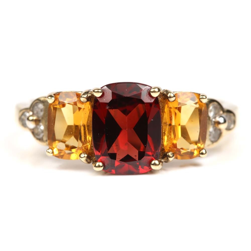 10K Yellow Gold Garnet, Citrine and Diamond Ring