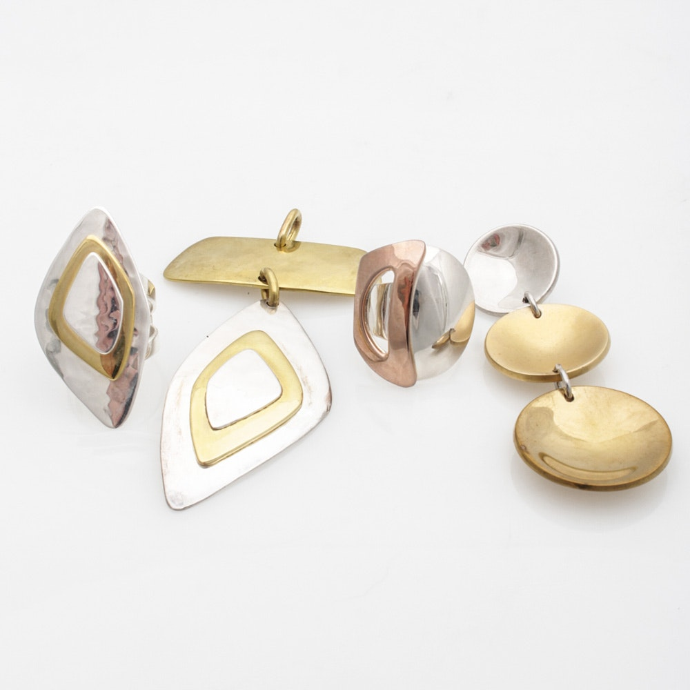 Robert Lee Morris Sterling Silver, Brass, and Bronze Jewelry