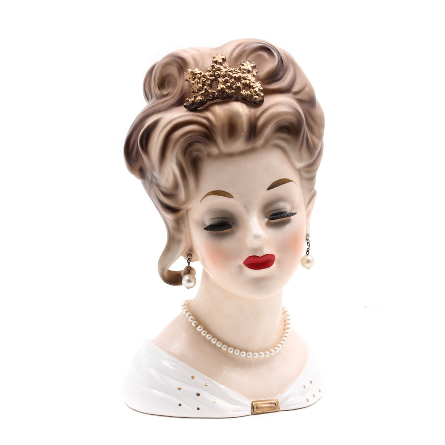 1963 Inarco Hand Painted Lady Head Vase With Jewelry Ebth