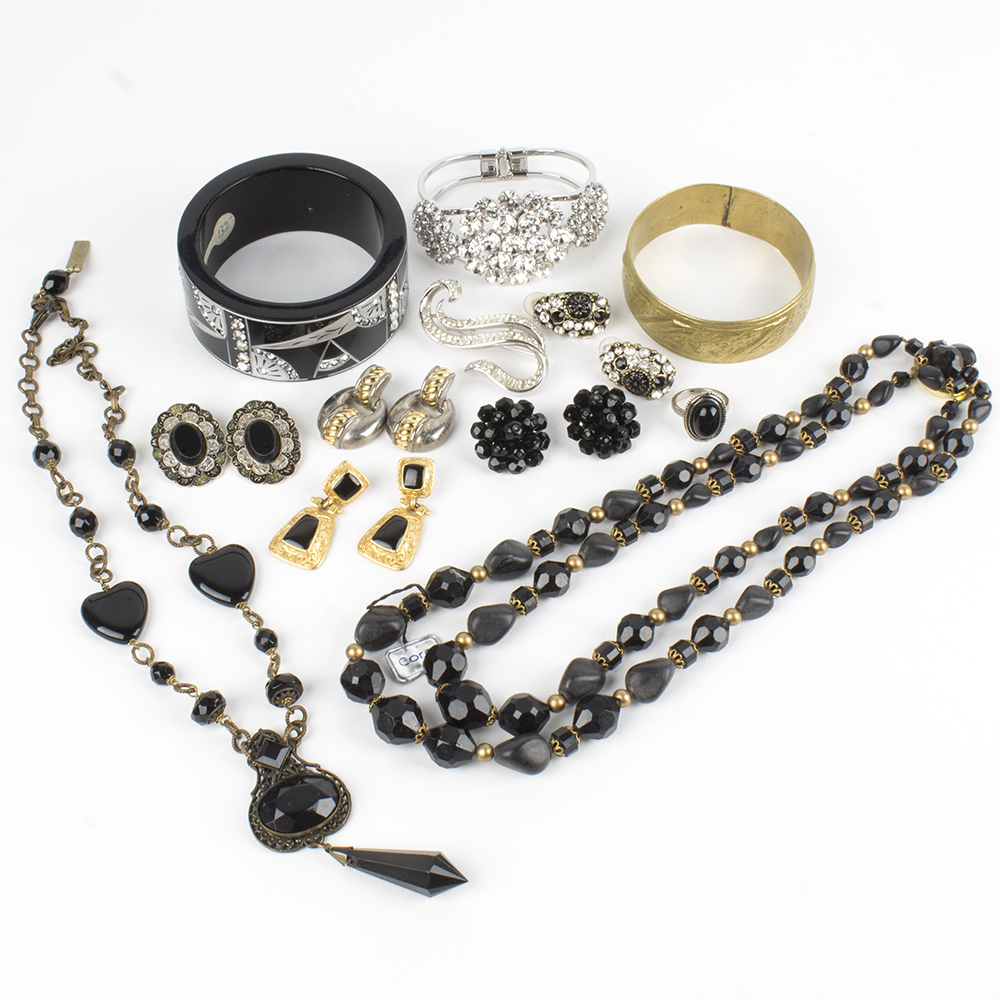Black and Gold Costume Jewelry Collection Including Coro Jan