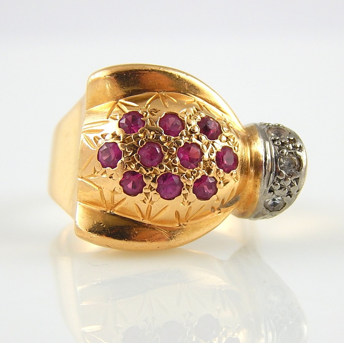 14K Yellow Gold Ruby and Spinel Ring