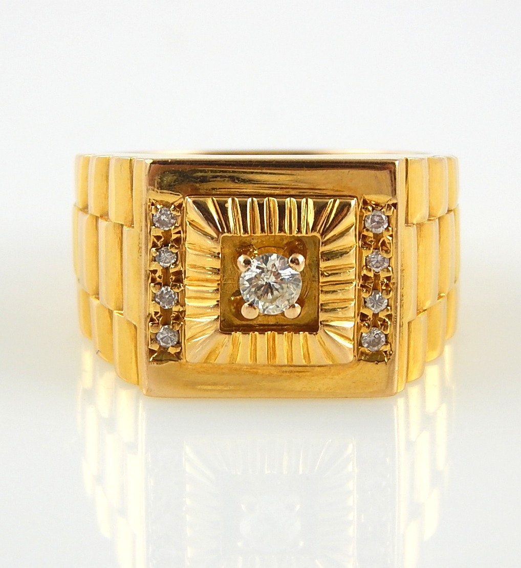 14K Yellow Gold Diamond Ring with Rolex-Style Band
