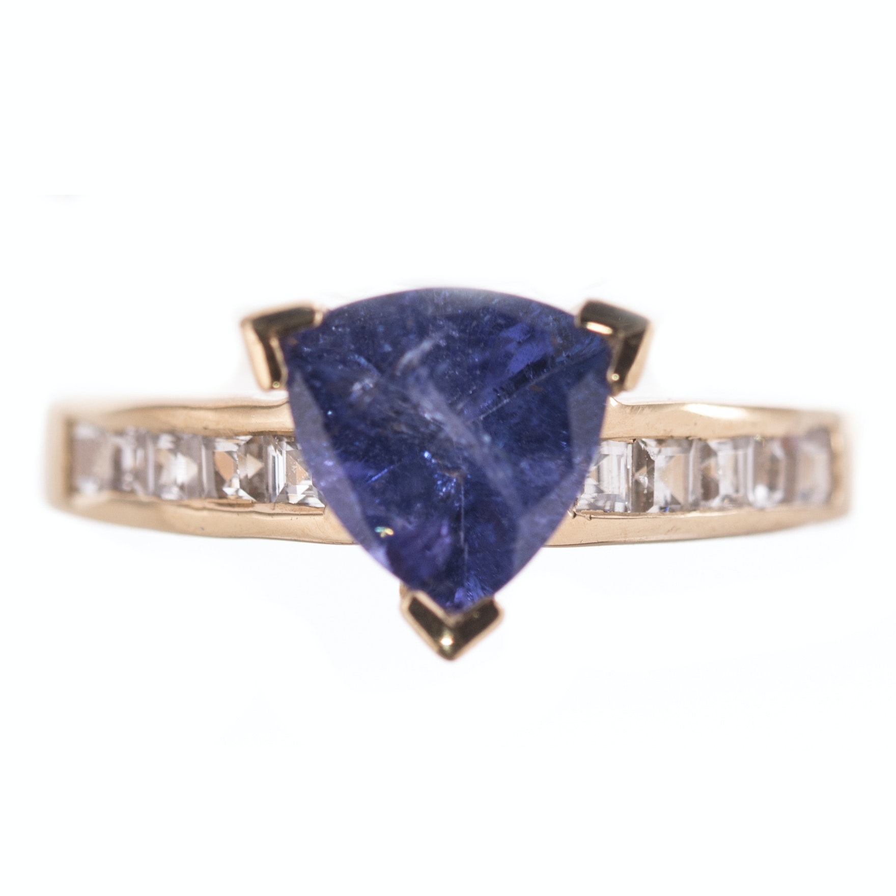 Gold Over Sterling Silver 2.08 CT Tanzanite and White Topaz Ring