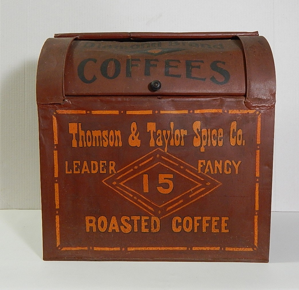 Antique Tole Coffee Bin Labeled for Thomson & Taylor Spice Co.