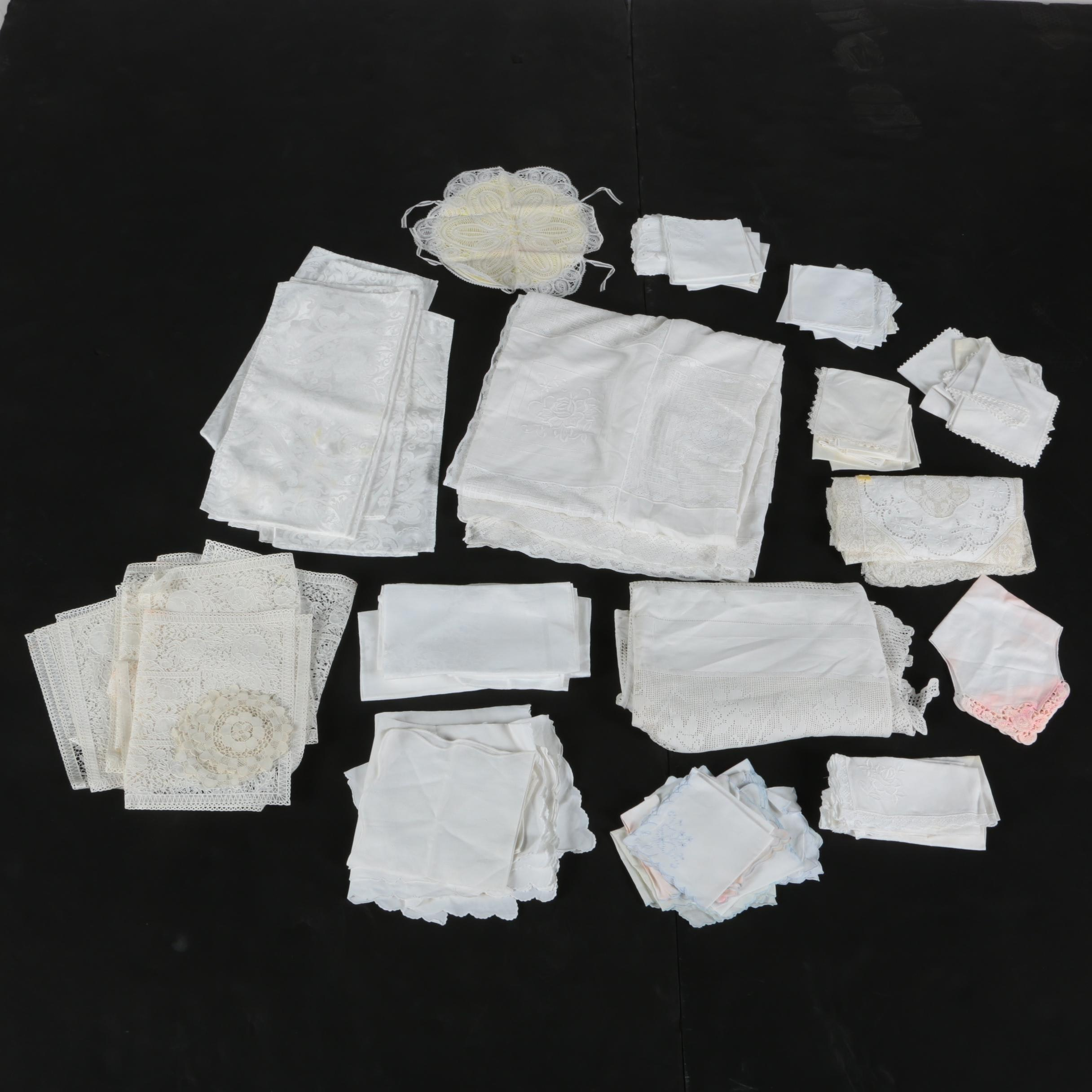 Table Linens Including Doilies and Ralph Lauren Napkins