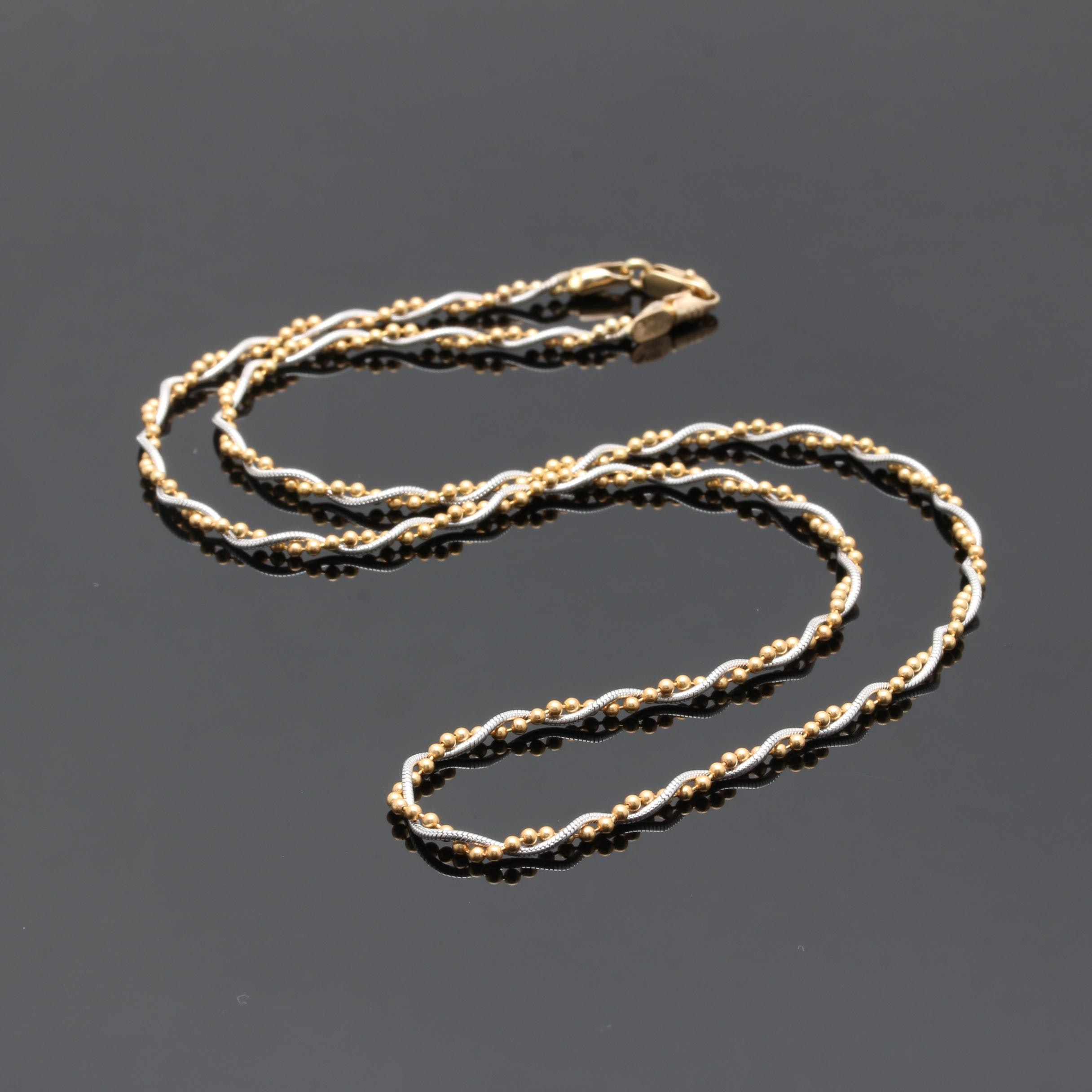 14K Two-Tone Fancy Twisted Link Necklace