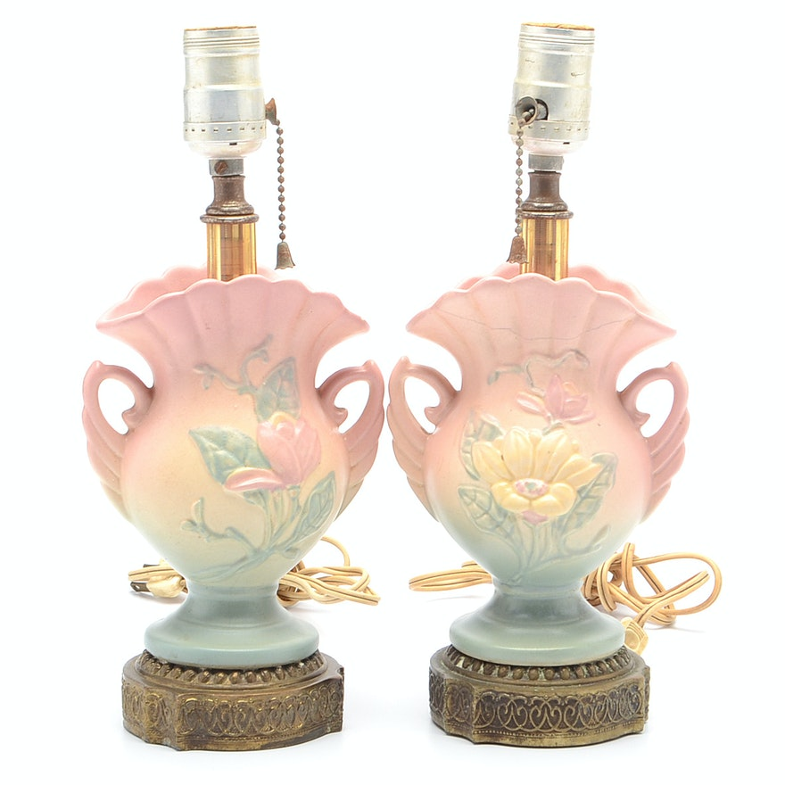 Vintage Hull Pottery Magnolia Vanity Lamps : EBTH