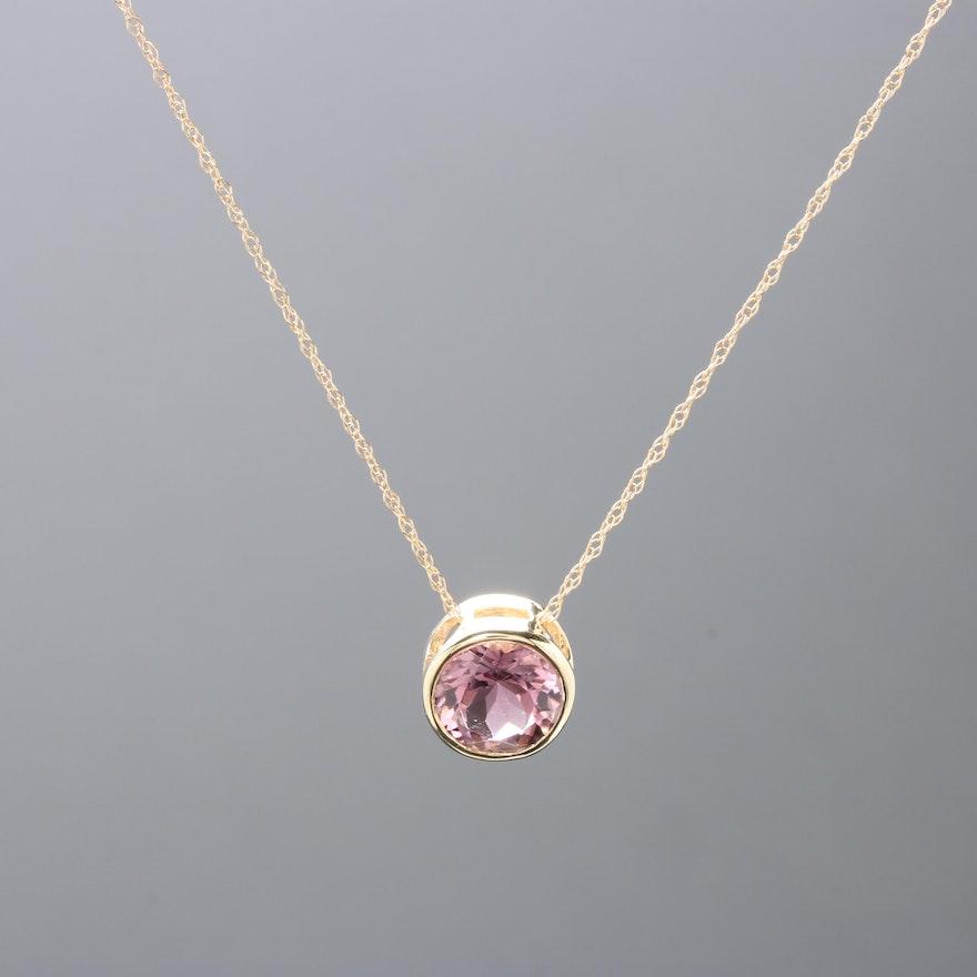 14k yellow gold pink tourmaline pendant necklace ebth. Black Bedroom Furniture Sets. Home Design Ideas