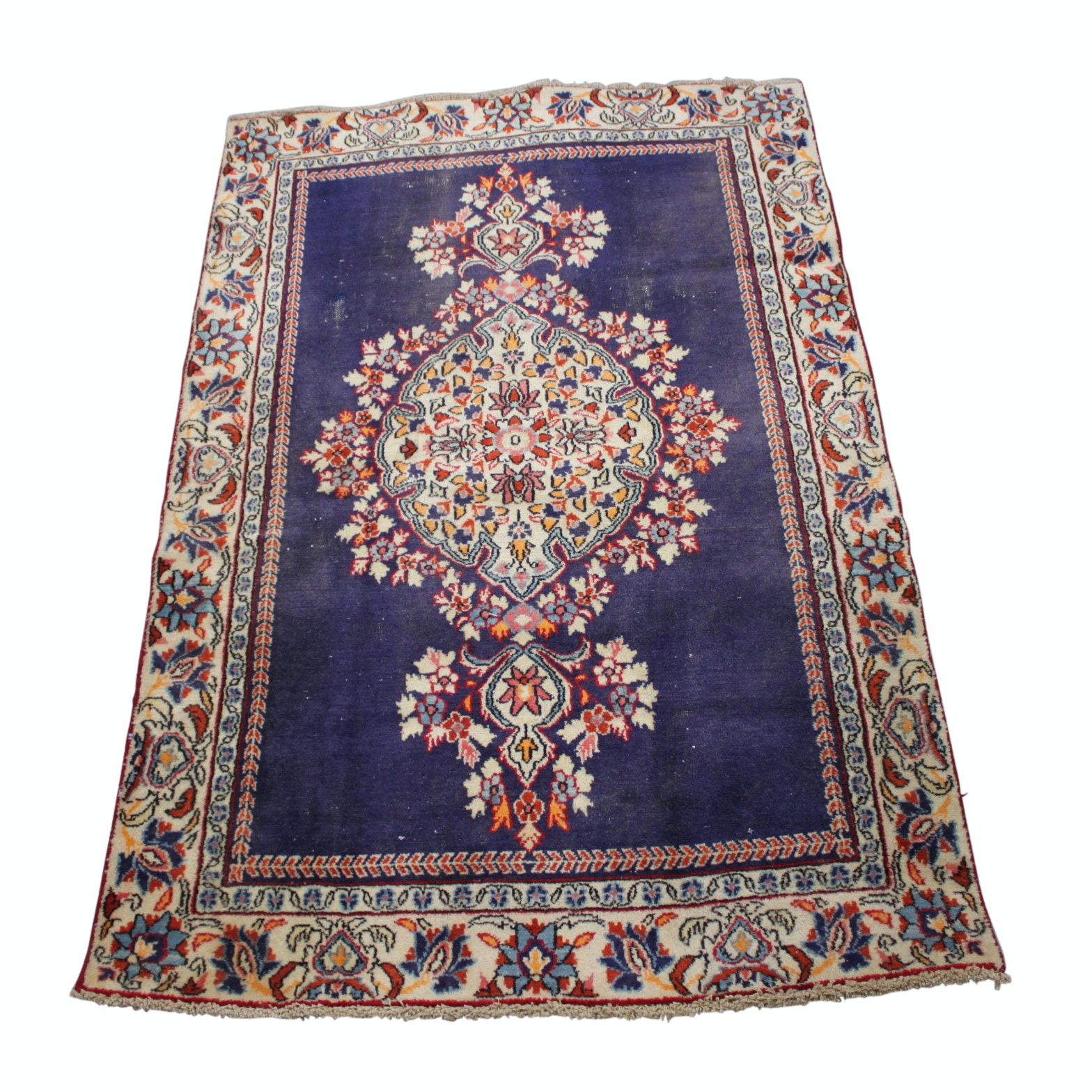 3' x 5' Hand Knotted Vintage Persian Qum Area Rug