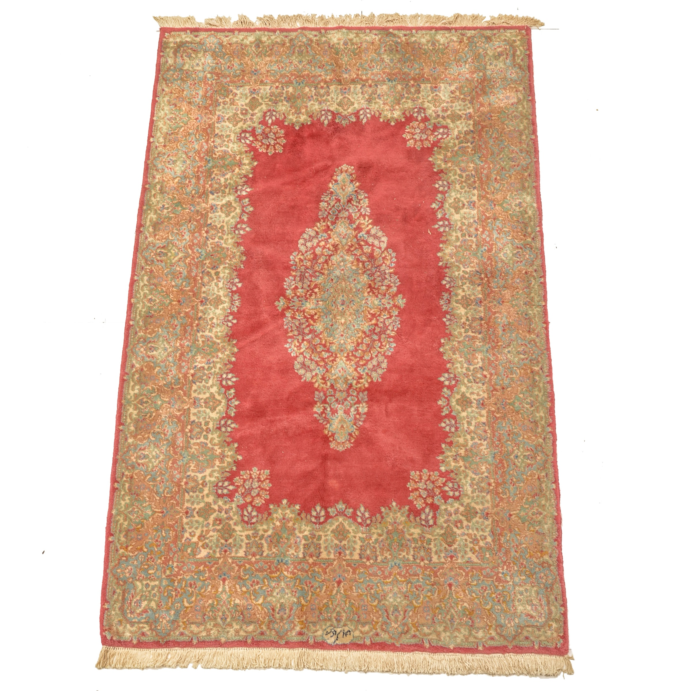 Signed Hand-Knotted Persian Kerman Wool Area Rug