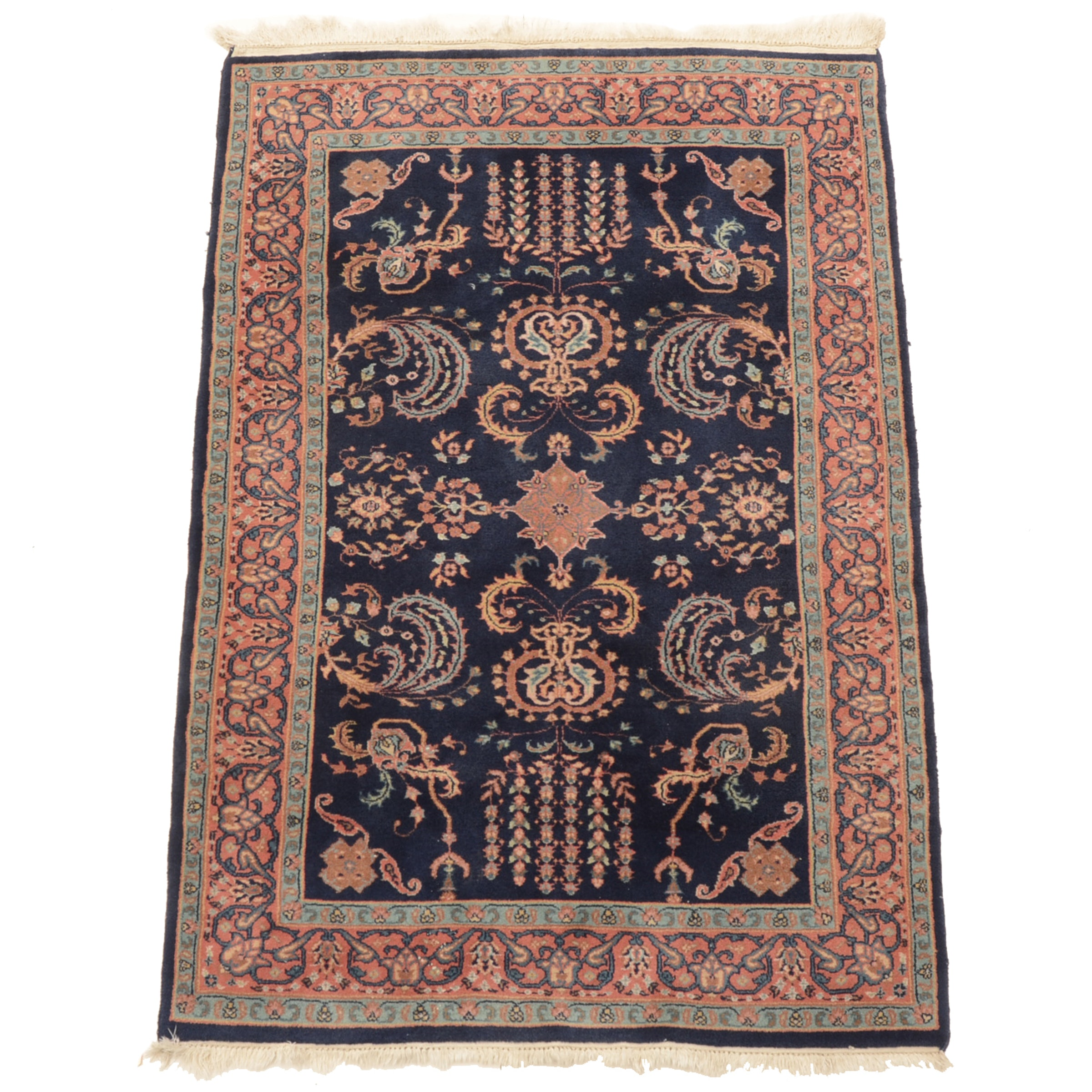Hand-Knotted Indo-Persian Fereghan Style Wool Area Rug