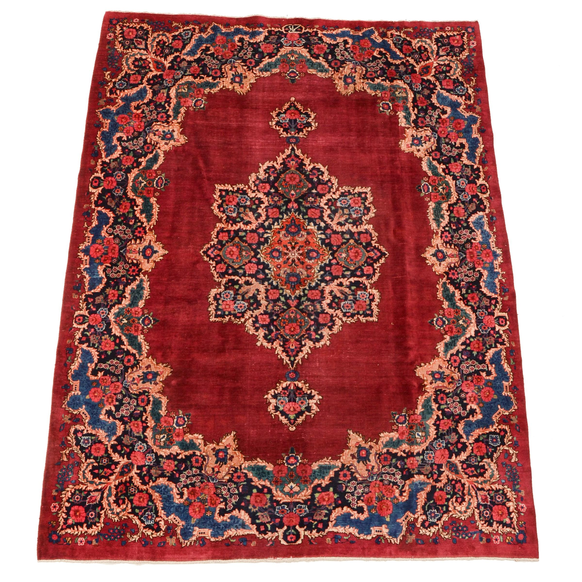 Hand-Knotted Persian Mashhad Darbari Wool Area Rug