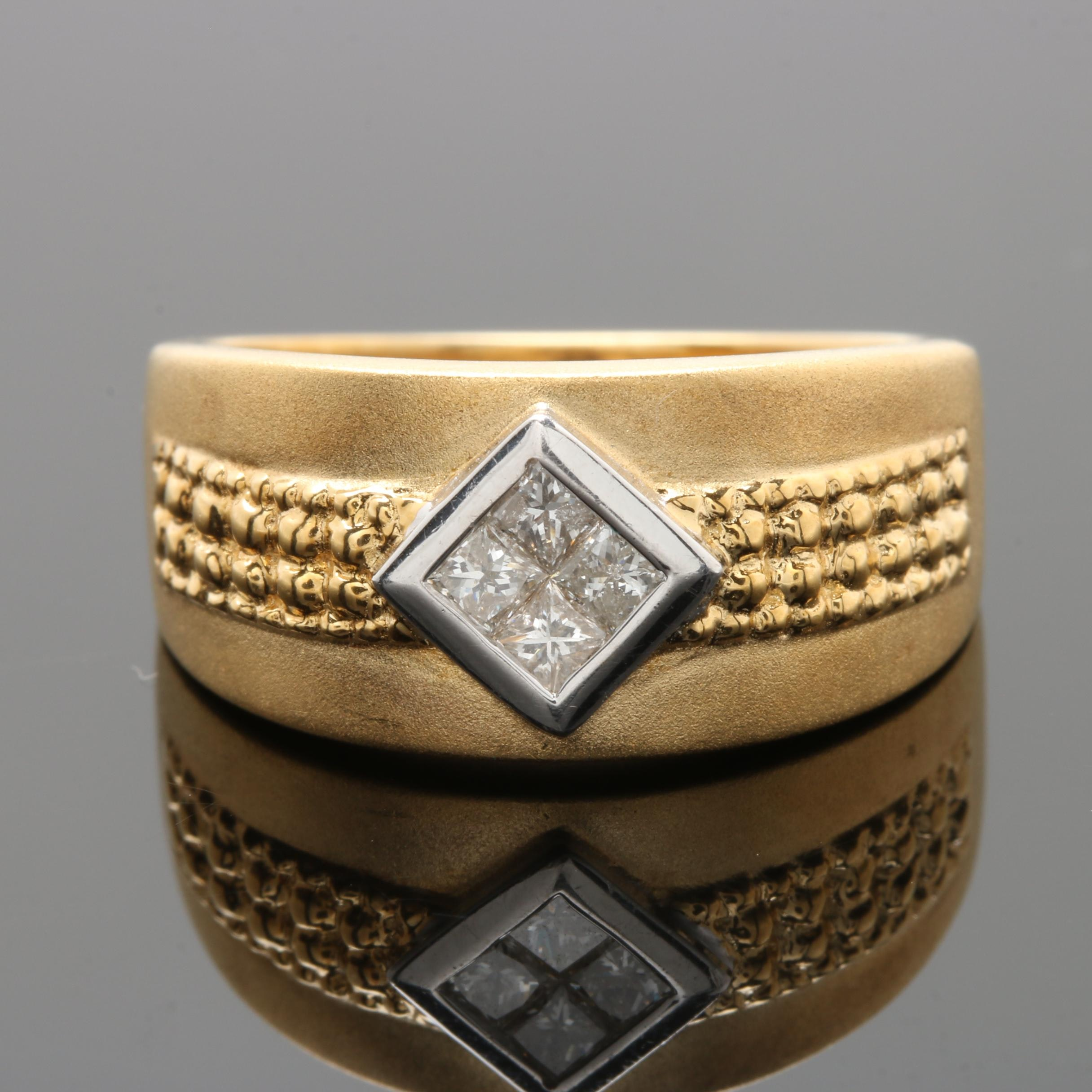 18K Yellow Gold Diamond Ring with White Gold Accent